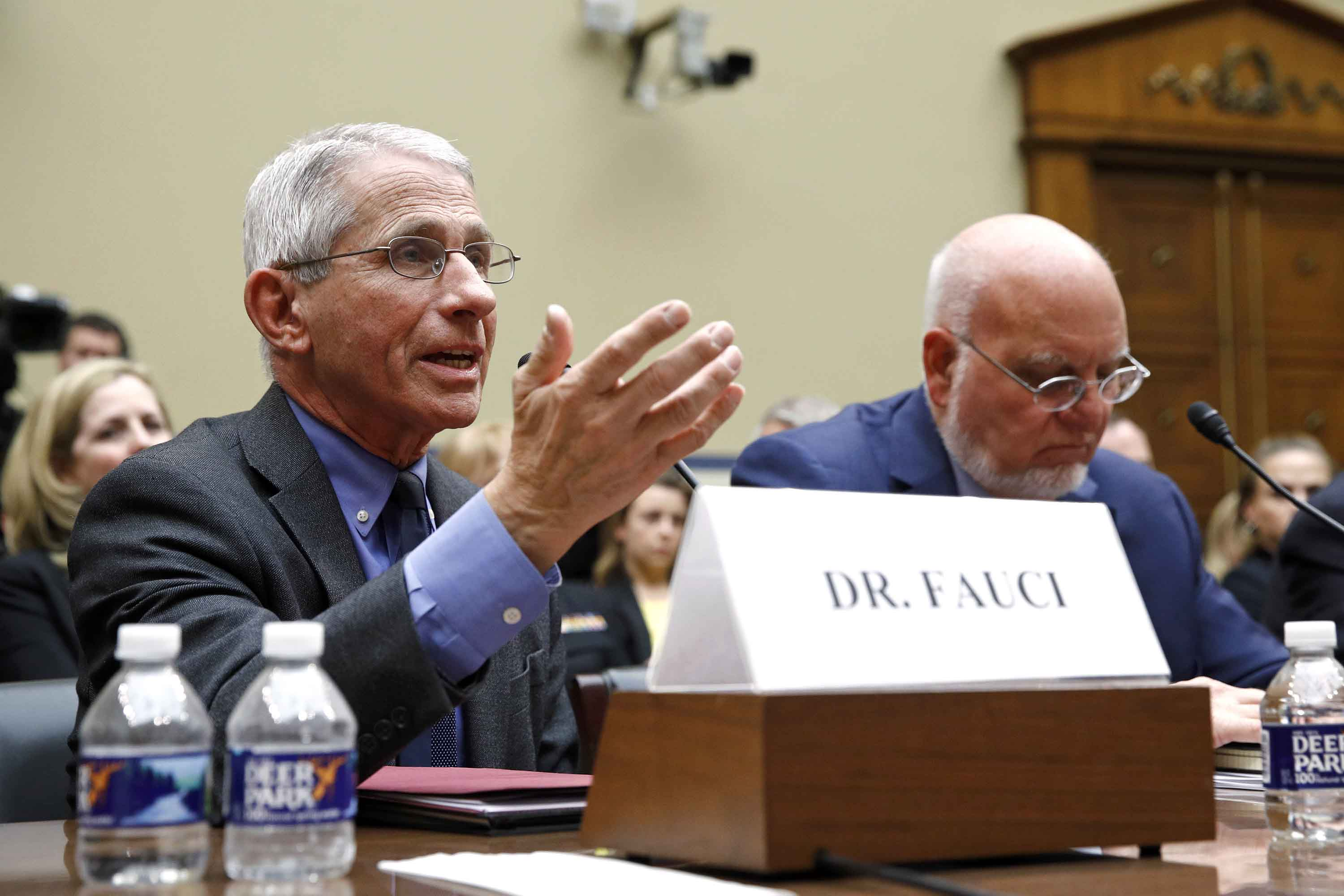 Dr. Anthony Fauci testifies before a House Oversight Committee hearing on preparedness for and response to the coronavirus outbreak on Capitol Hill in Washington, on Wednesday.