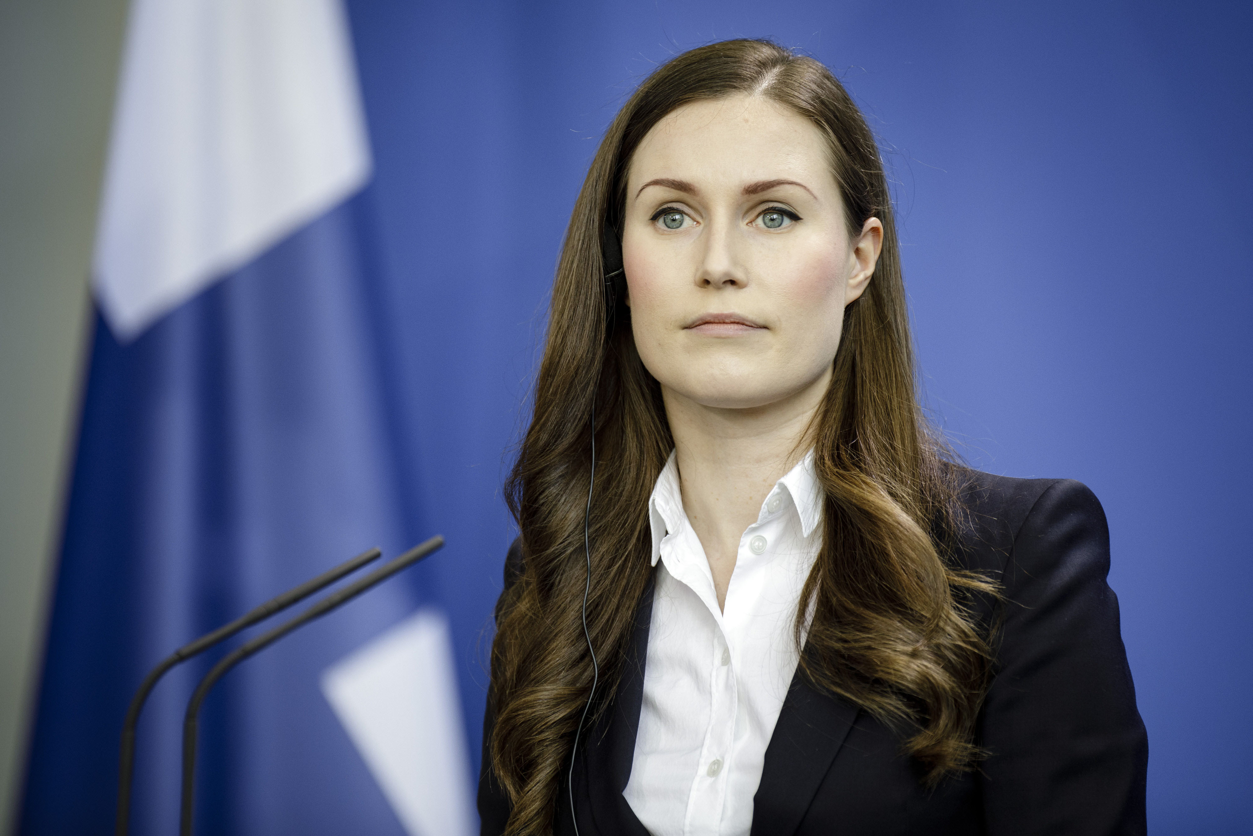 Finnish Prime Minister Sanna Marin attends a press conference in Berlin on February 19.