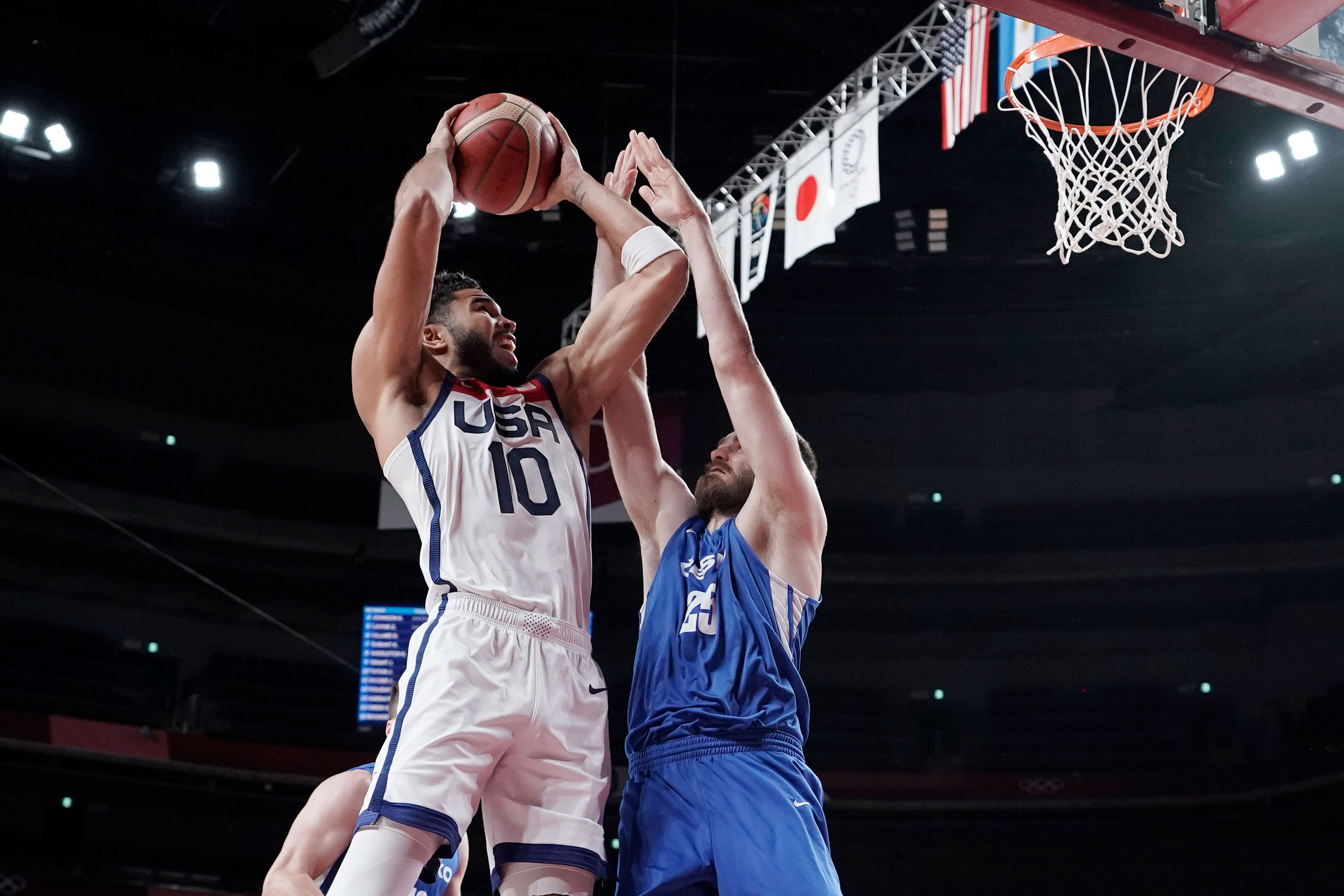 Team USA's Jayson Tatum shoots over Czech Republic's David Jelined during their game on July 31.
