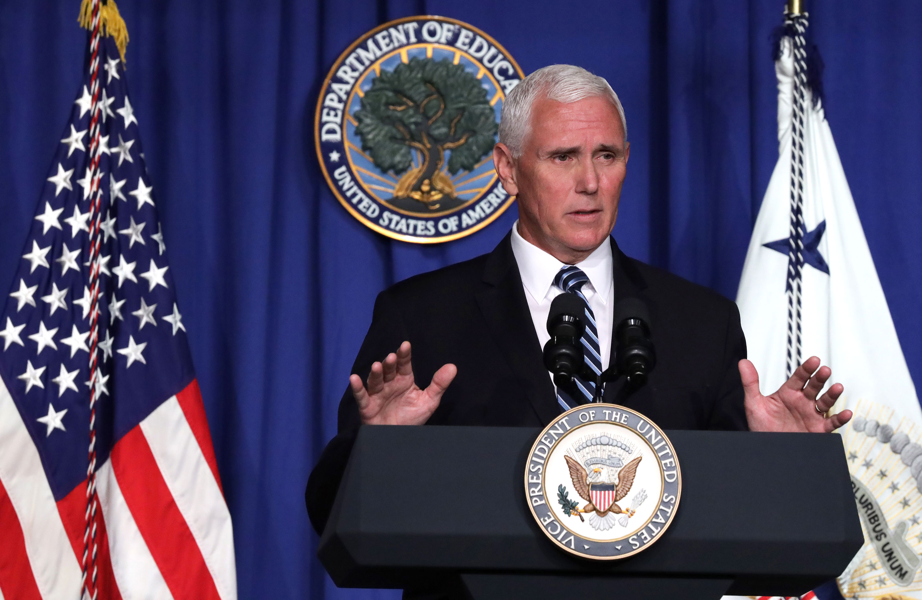 Vice President Mike Pence speaks during a press briefing at the U.S. Department of Education July 8 in Washington, DC.