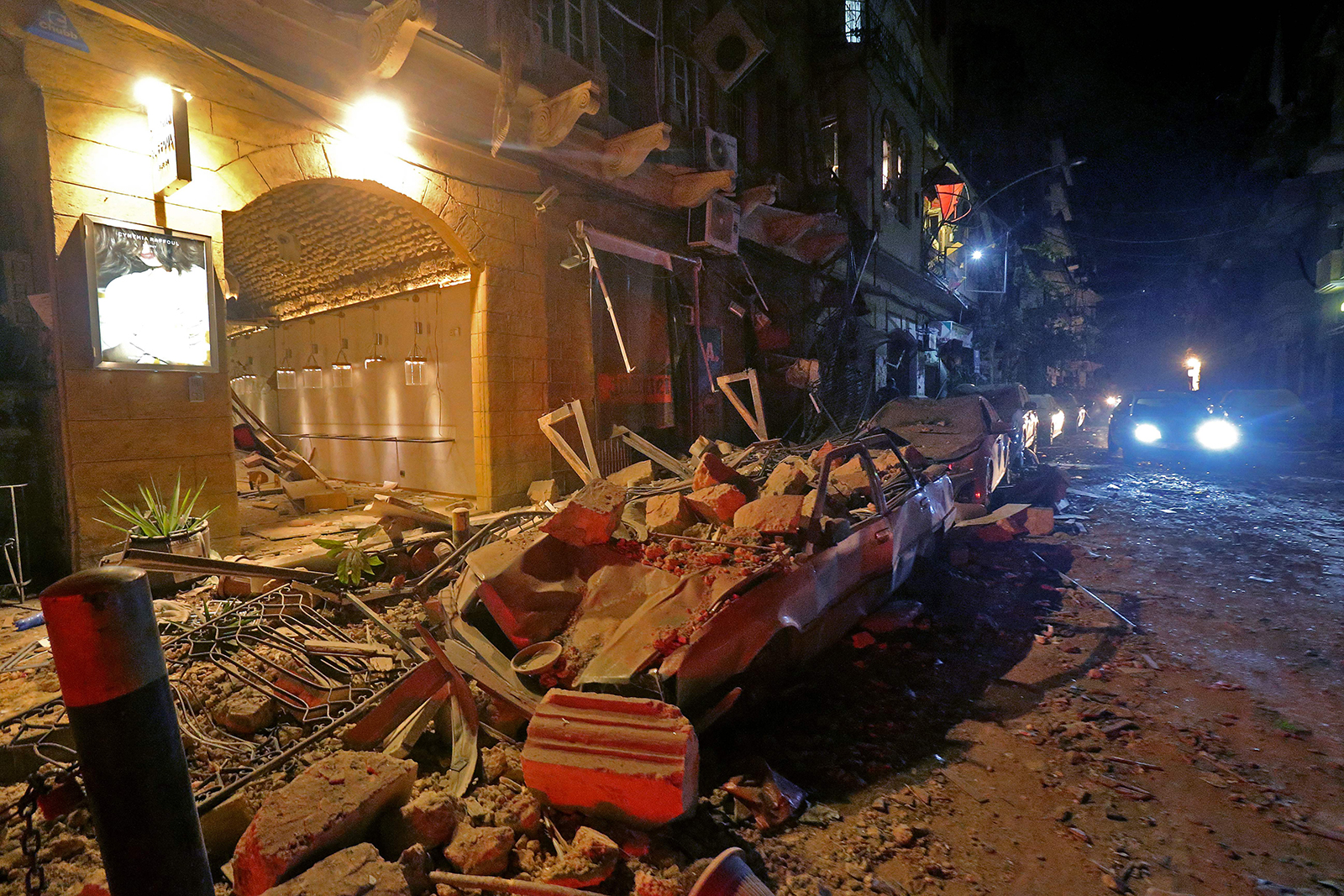 A view of destruction in the Gemmayzeh area in the center of Lebanon's capital Beirut, following a massive explosion on August 4.