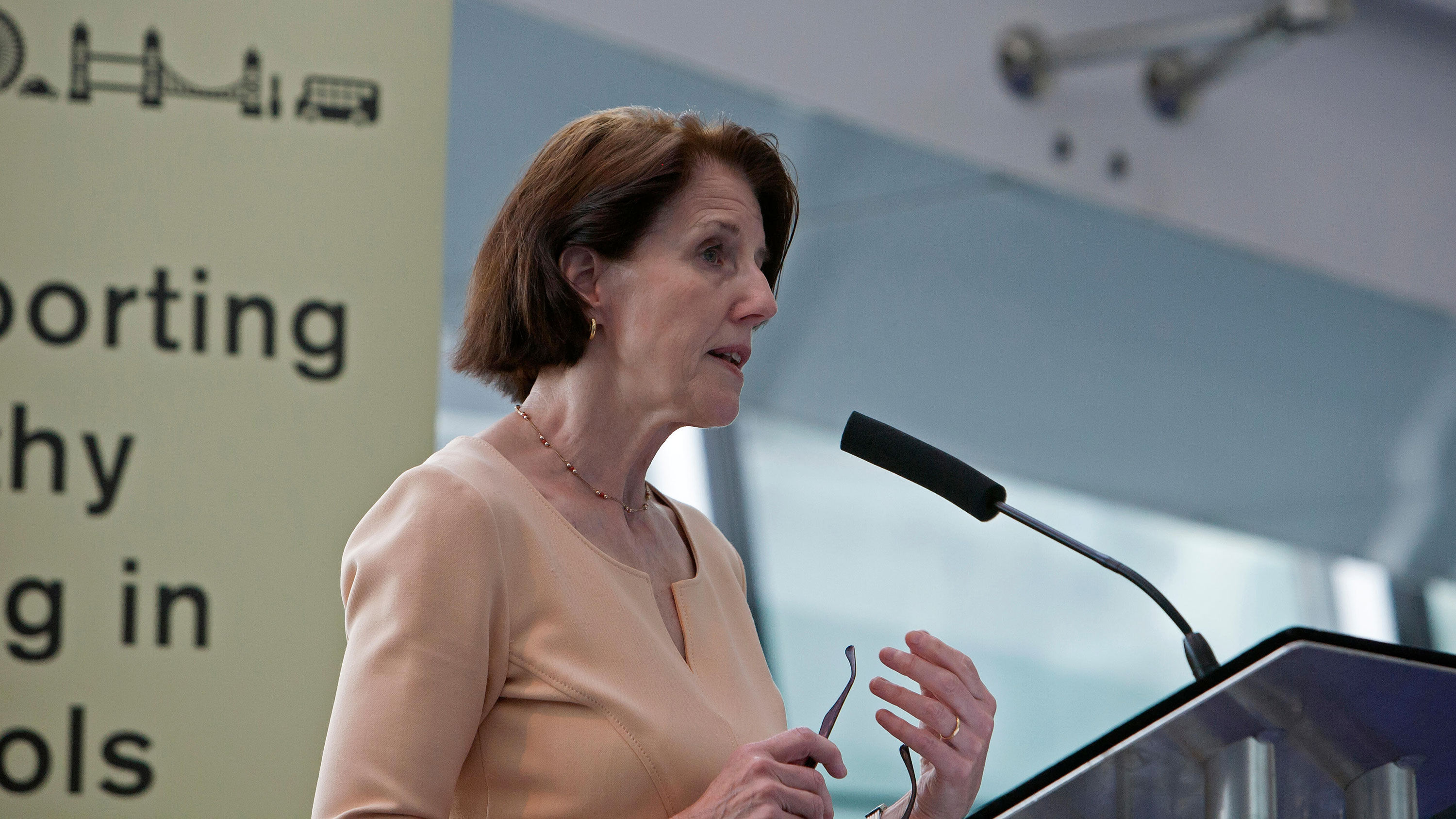 In this 2015 file photo, Dr. Yvonne Doyle speaks at City Hall in London.