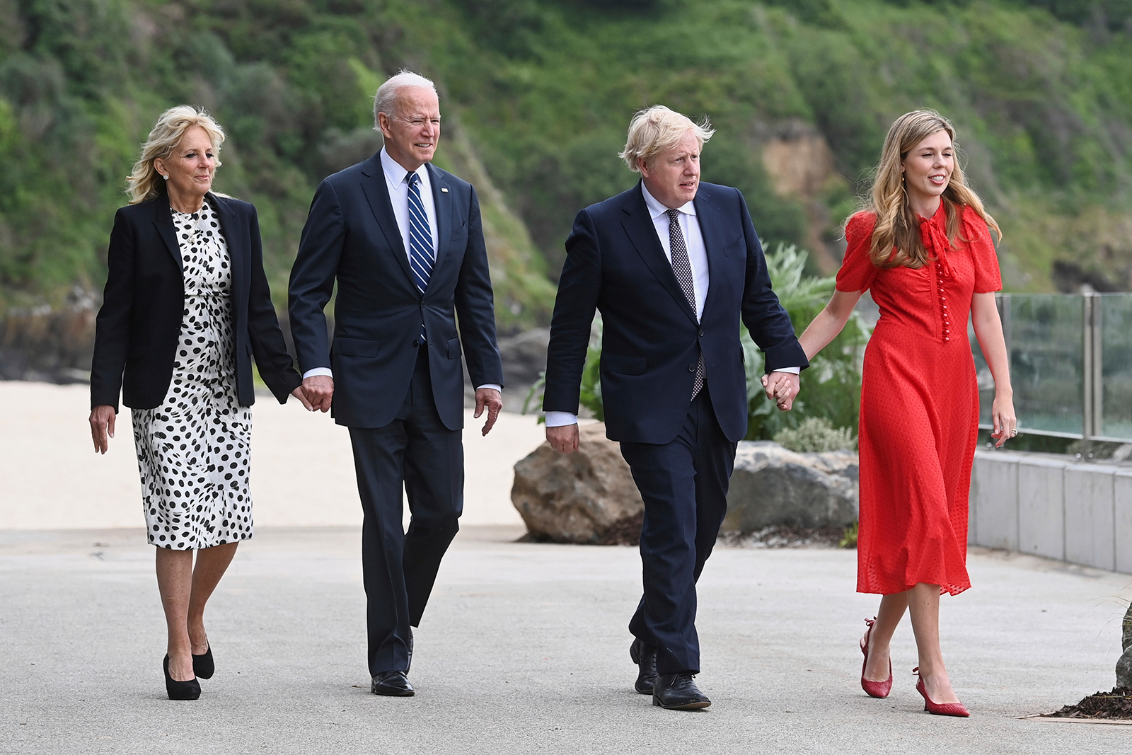 The Johnsons and the Bidens outside Carbis Bay Hotel in Cornwall ahead of the G7 summit on Thursday.