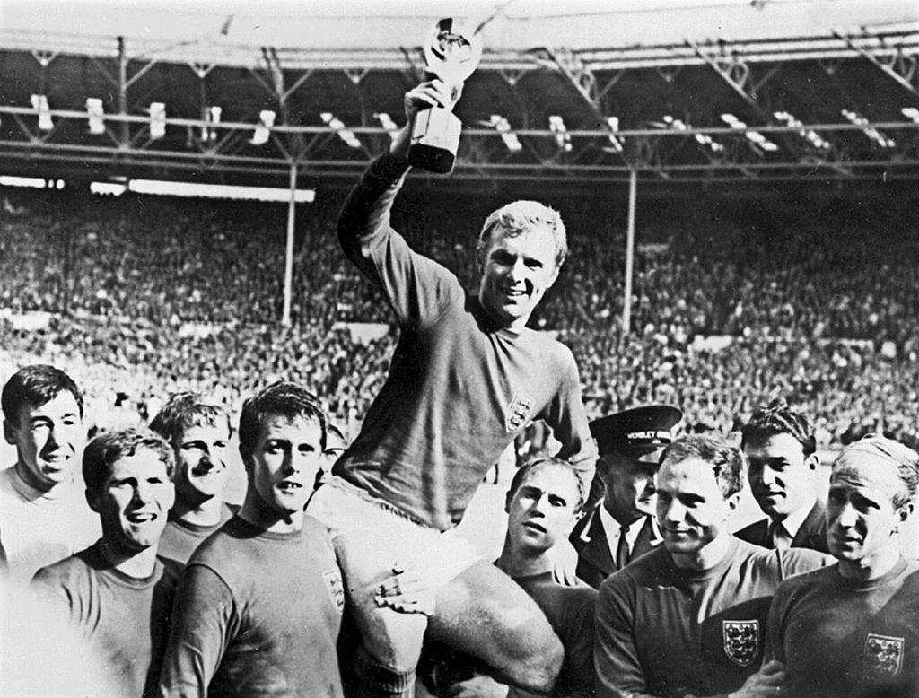 England captain Bobby Moore lifts the World Cup in 1966.