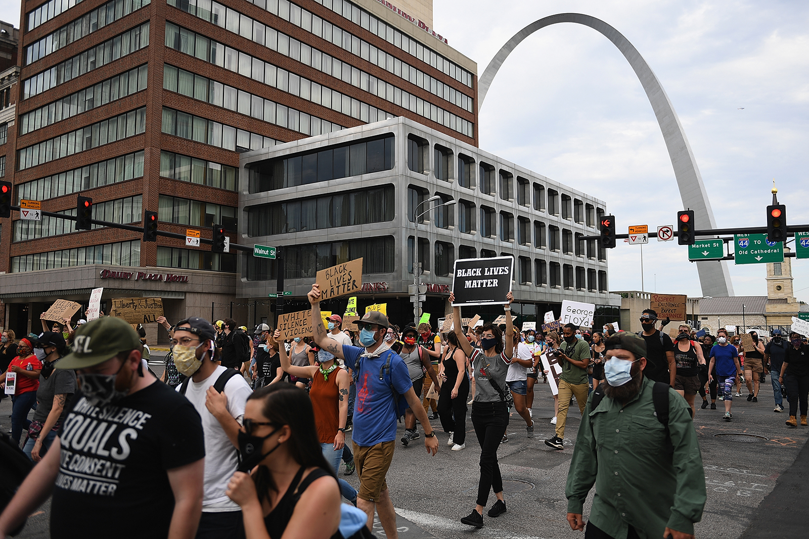 Protesters demonstrate against police brutality and the death of George Floyd through downtown St. Louis on June 1, in St Louis, Missouri.