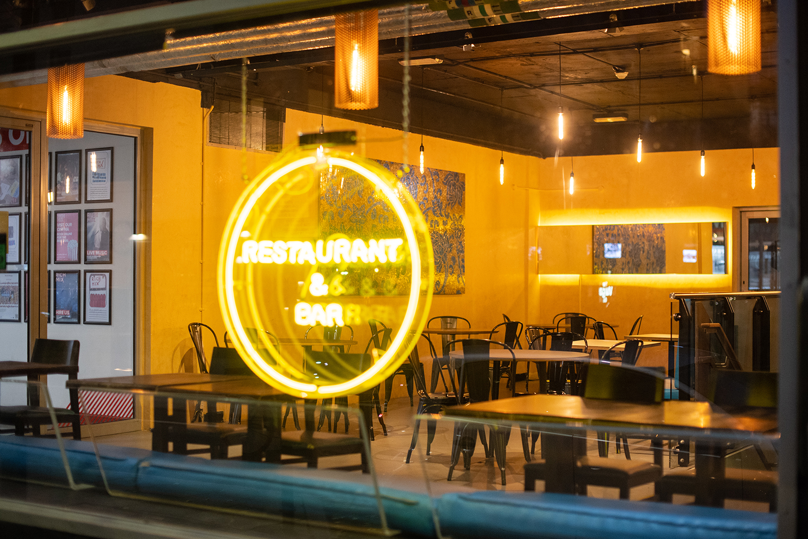 A closed restaurant sits empty during the national lockdown in Shoreditch, east London, England, on November 13.