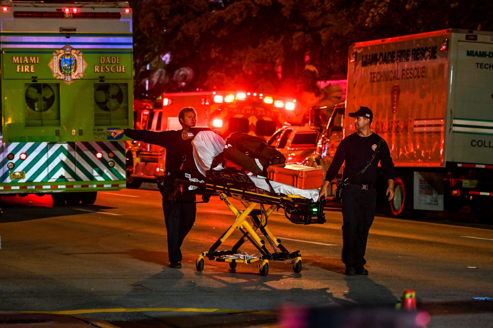 More than 80 rescue units responded to the scene at 8777 Collins Avenue, Miami-Dade Fire Rescue said.