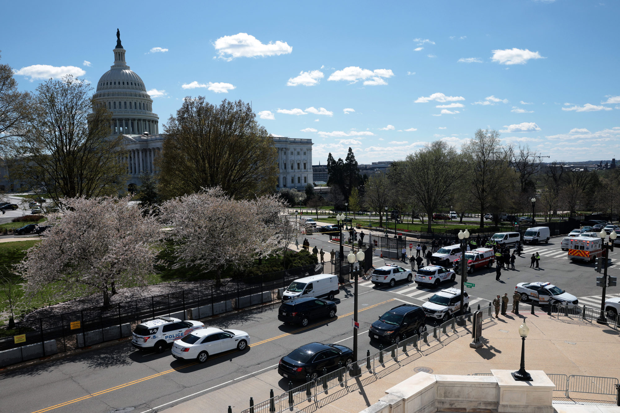 Law enforcement investigate the scene after a vehicle charged a barricade at the U.S. Capitol on April 2 in Washington, DC.