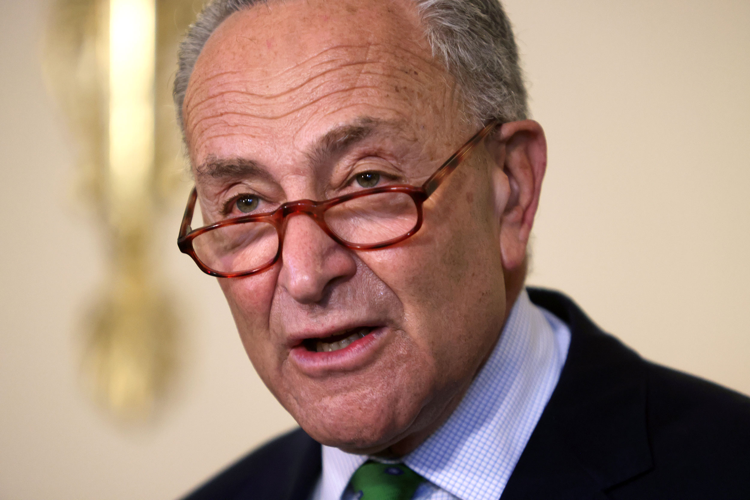 Senate Minority Leader Sen. Chuck Schumer speaks during a news conference September 10 on Capitol Hill in Washington, DC.