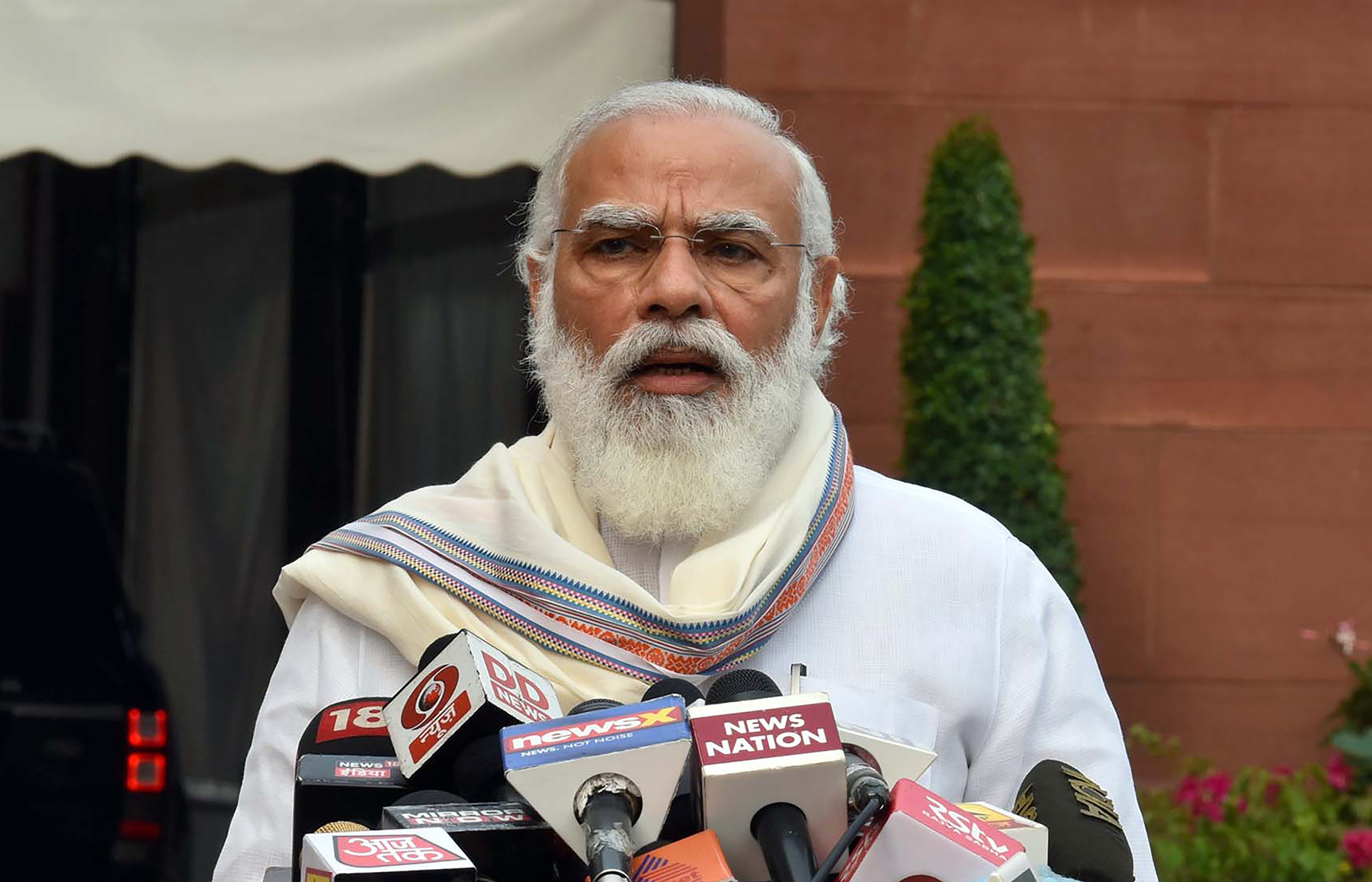Indian Prime Minister Narendra Modi addresses the media as he arrives at the Parliament in New Delhi, India, on Monday, September 14, 2020.