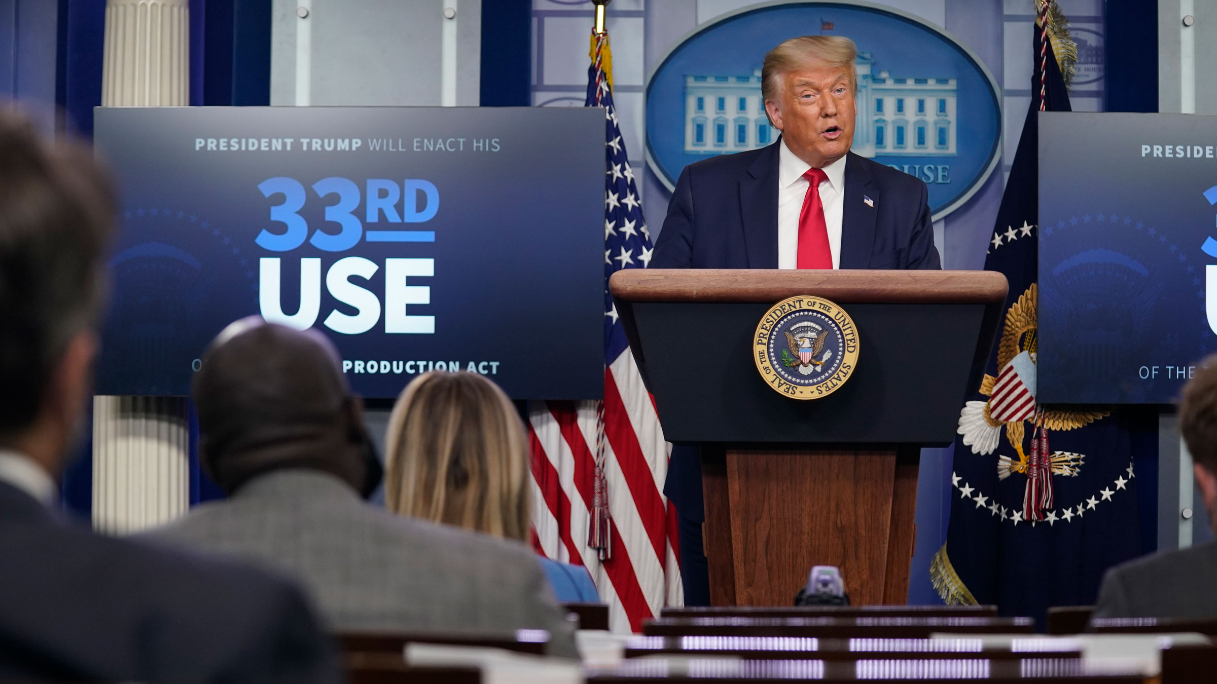 President Donald Trump speaks during his White House news conference on Tuesday.