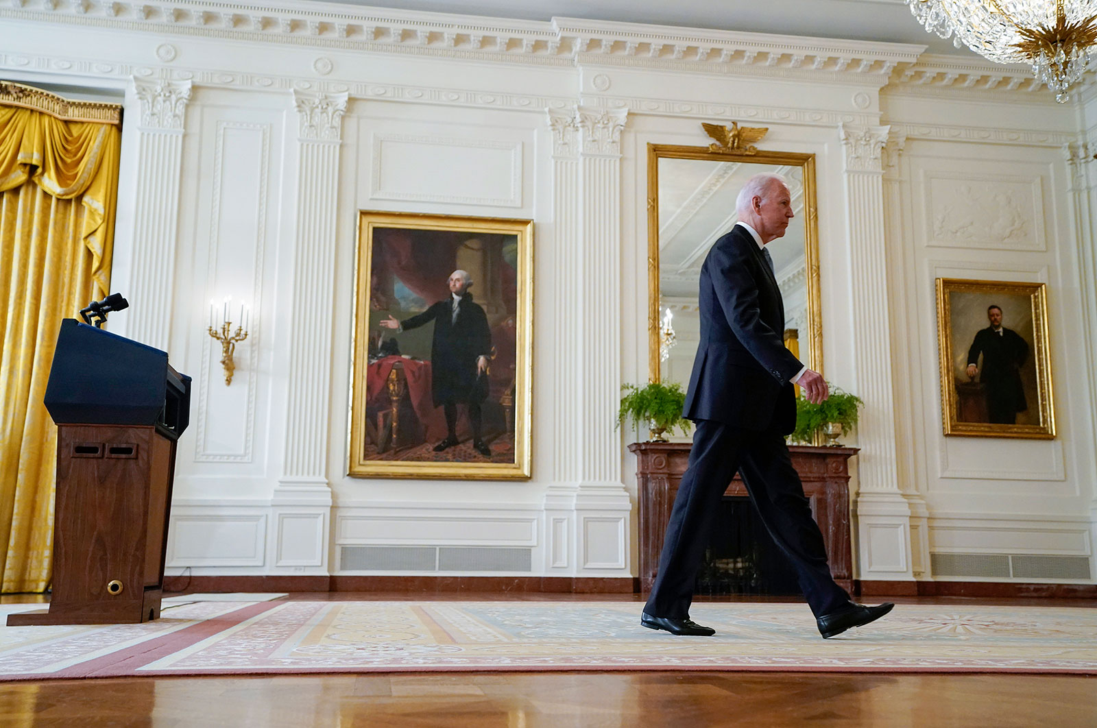 President Joe Biden walks from the podium after speaking about Afghanistan from the East Room of the White House on Monday, August 16.