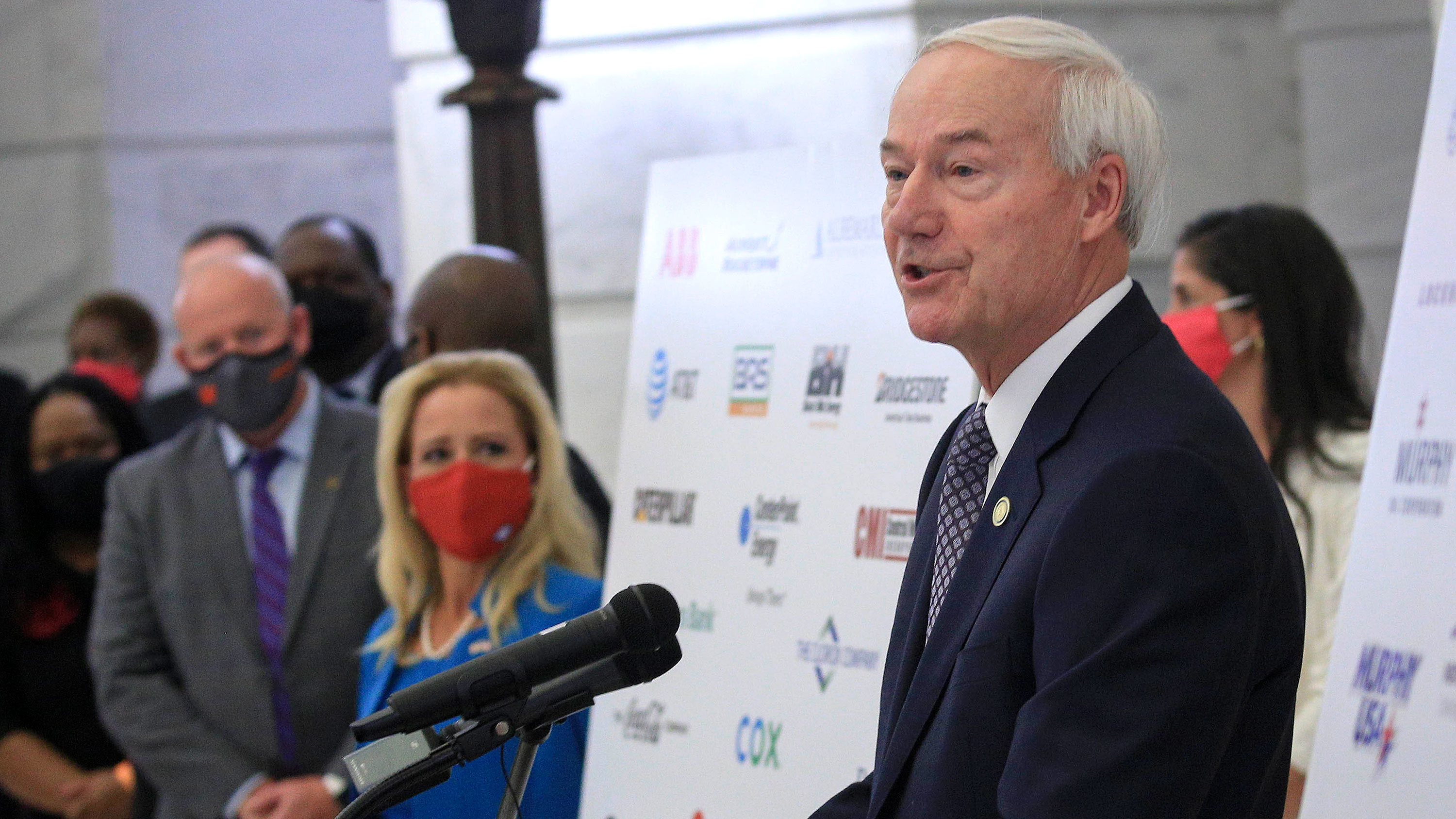 Arkansas Gov. Asa Hutchinson speaks during a press conference on August 19 in Little Rock, Arkansas.