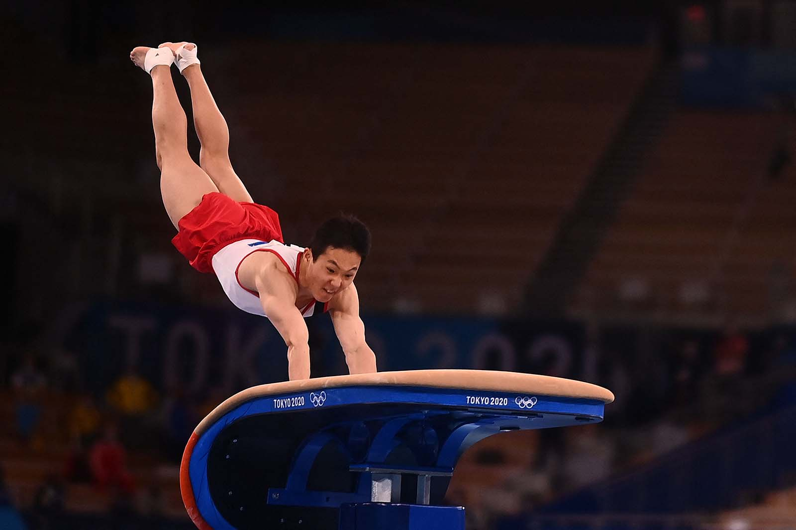 South Korea's Shin Jea-hwan competes in the artistic gymnastics men's vault final on August 2.