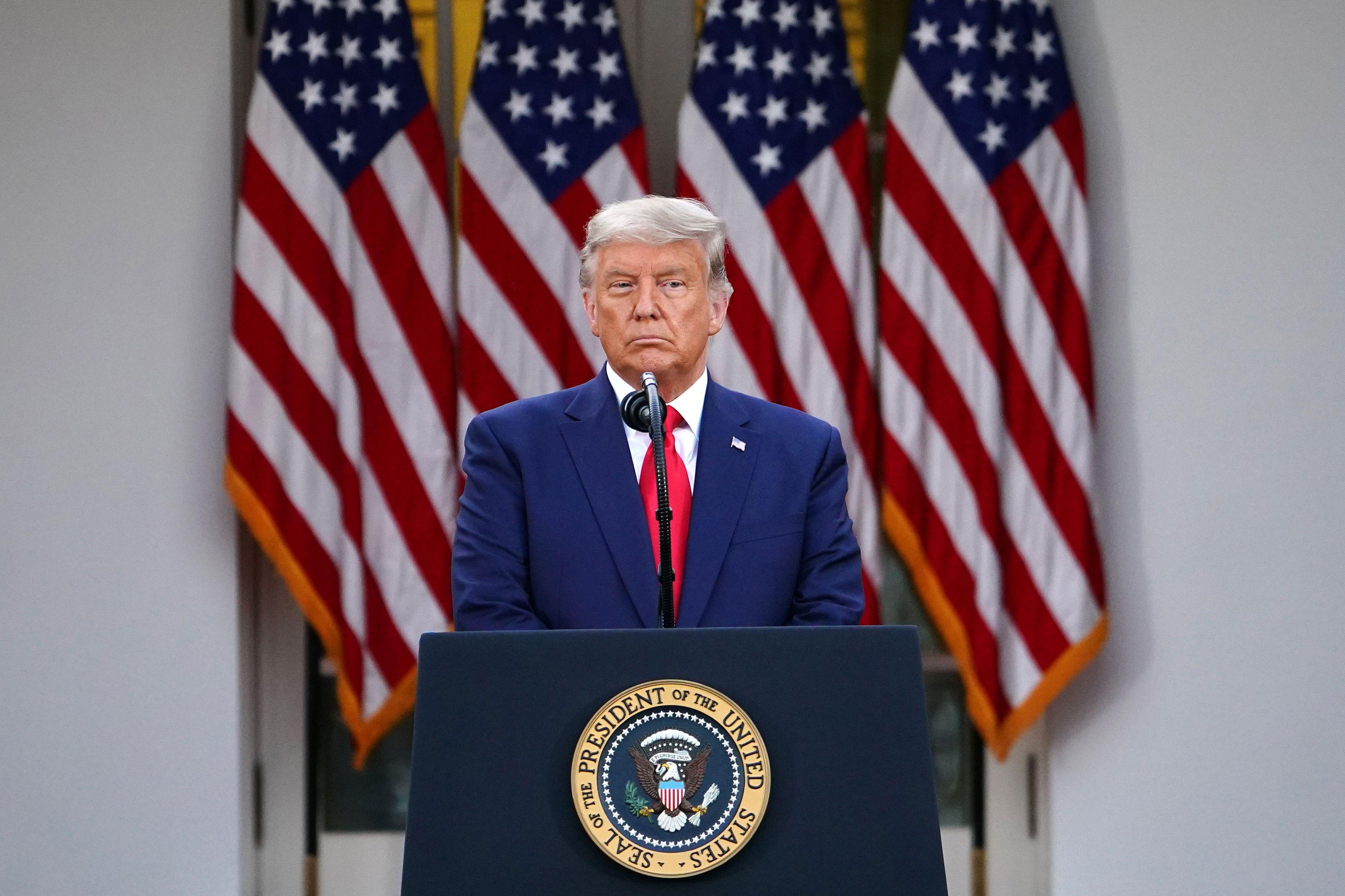 President Donald Trump speaks in the Rose Garden of the White House on November 13.
