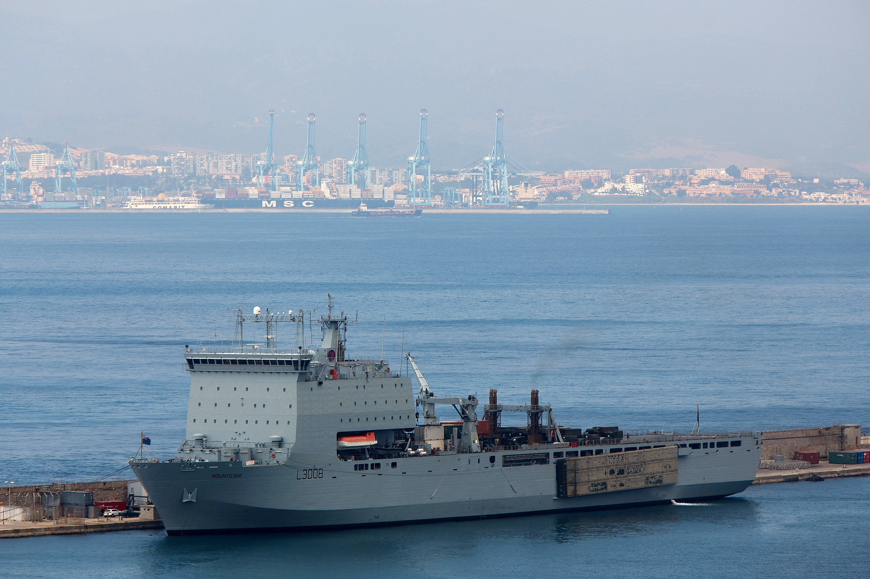 The Royal Fleet auxiliary ship RFA Mounts Bay in Gibralter in 2013.