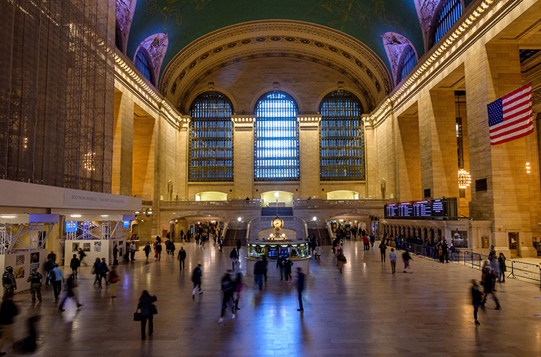 People commute through Grand Central Terminal train station on May 12, 2021 in New York City.