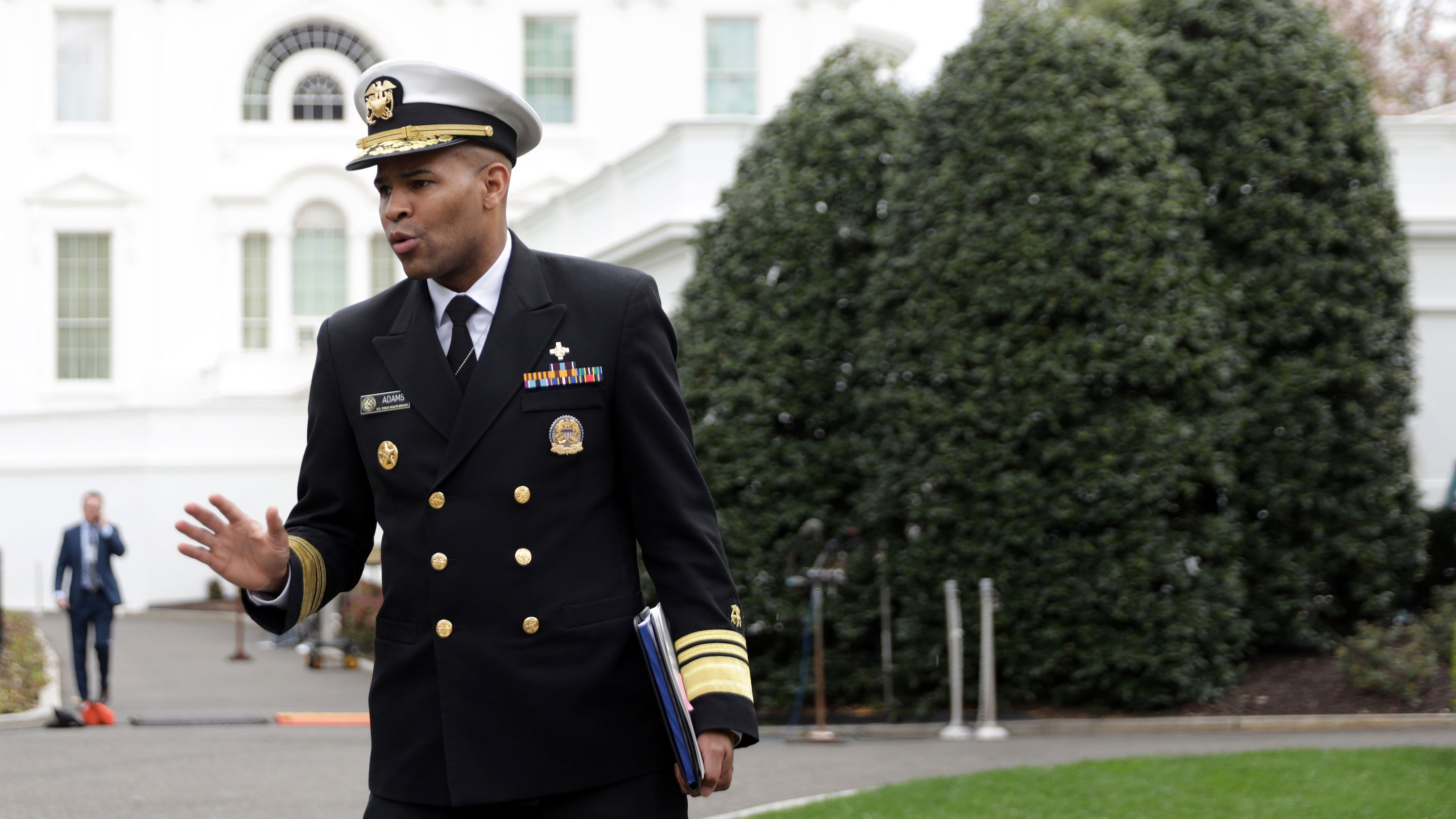 US Surgeon General Jerome Adams speaks to the press on March 20.