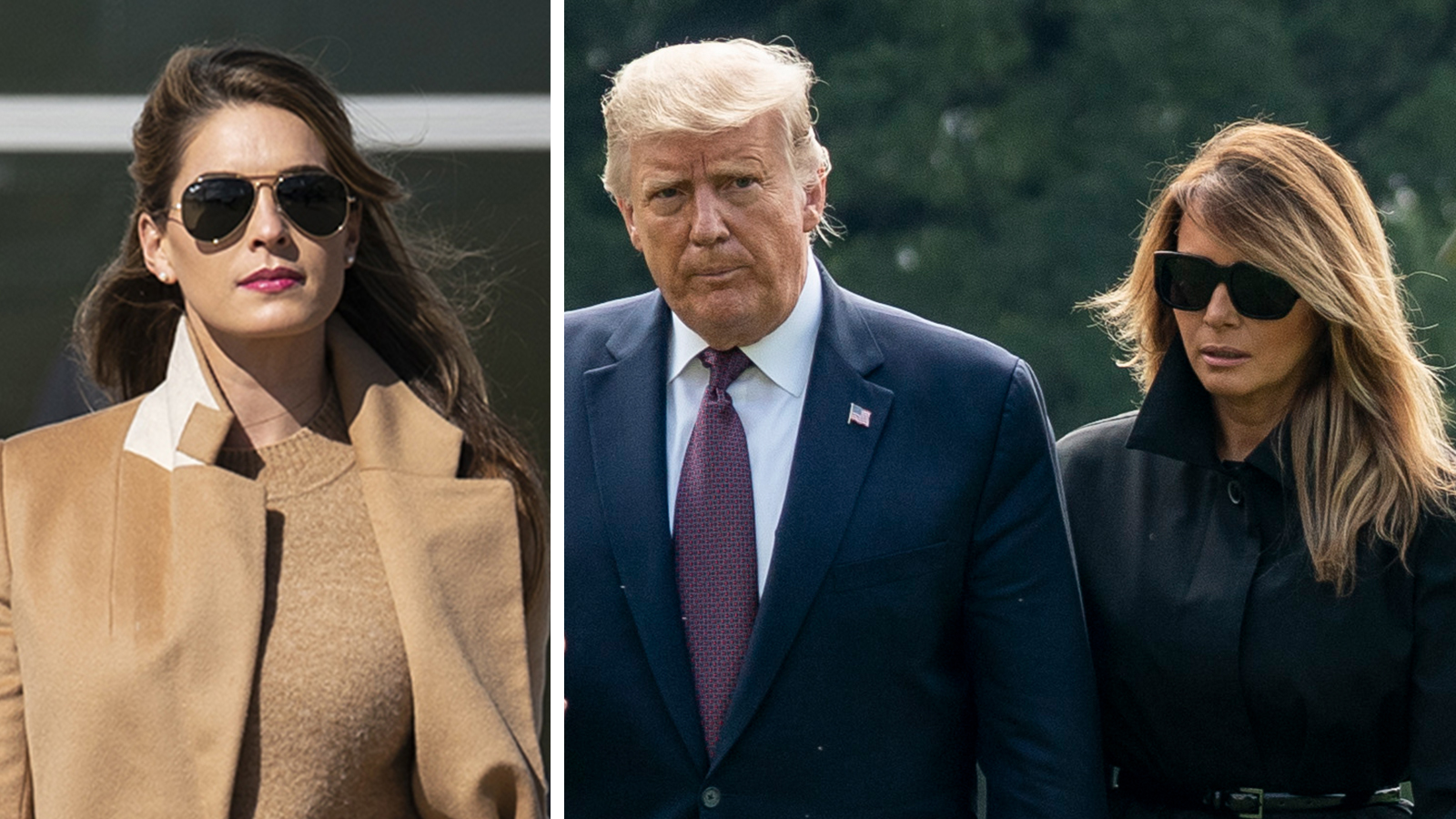 Hope Hicks, US President Donald Trump and First Lady Melania Trump.
