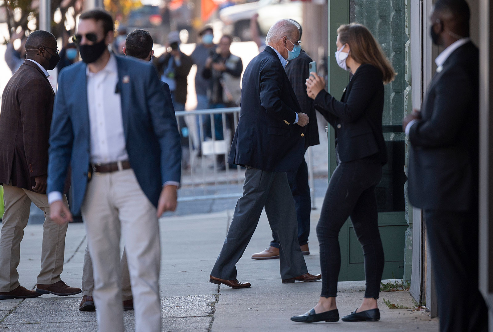 Democratic Presidential Candidate Joe Biden arrives at the Queen in Wilmington, Delaware, on ThursdayNovember 5.