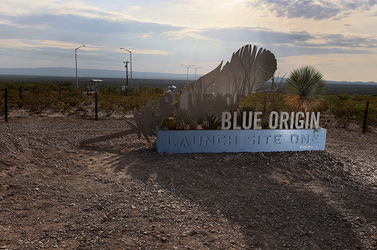 The sign outside of Jeff Bezos' Blue Origin operations in West Texas on July 19, 2021 in Van Horn, Texas.