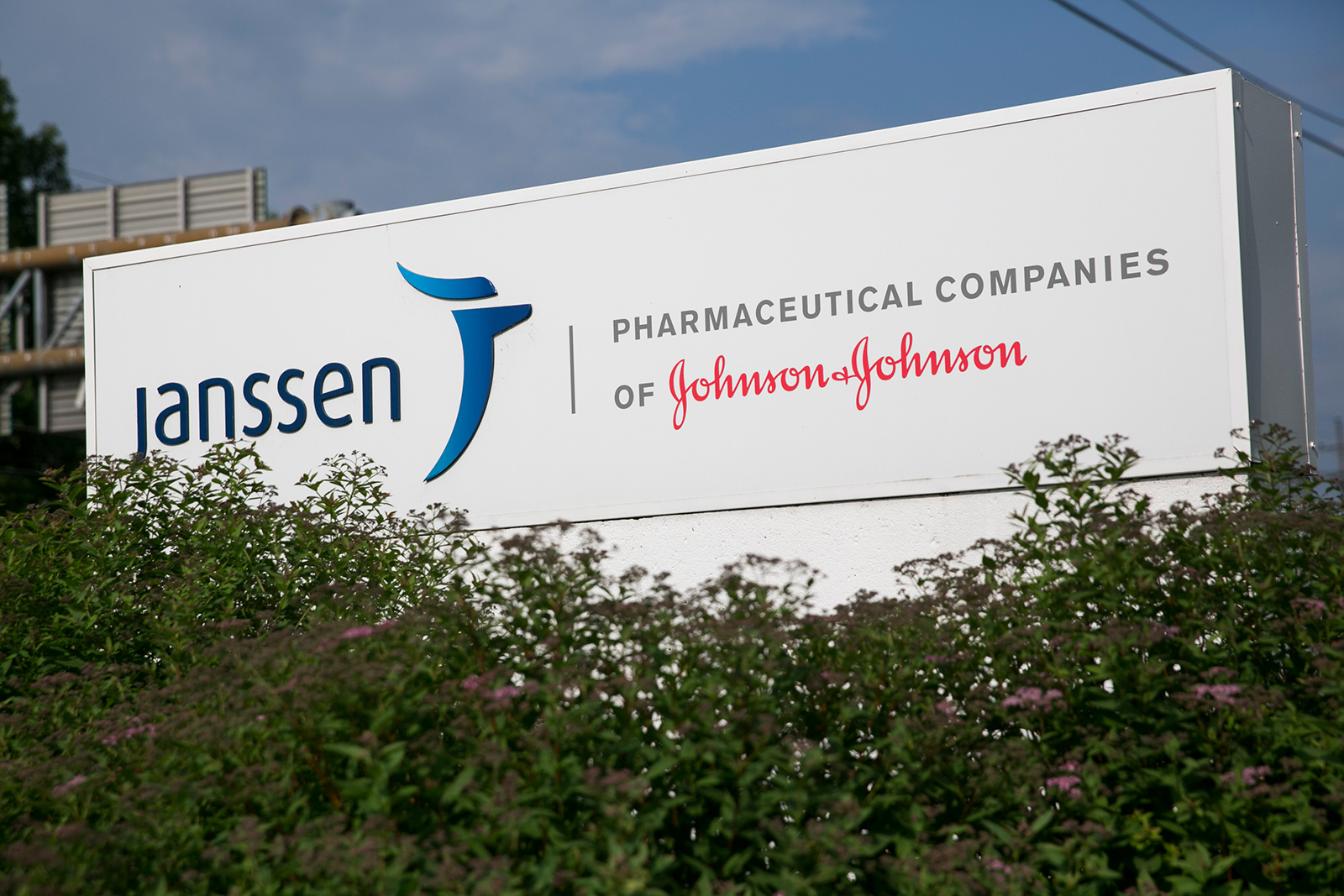 A logo sign outside of facility occupied by Janssen Pharmaceuticals, a subsidiary of Johnson & Johnson, in Somerville, New Jersey on May 31, 2015.