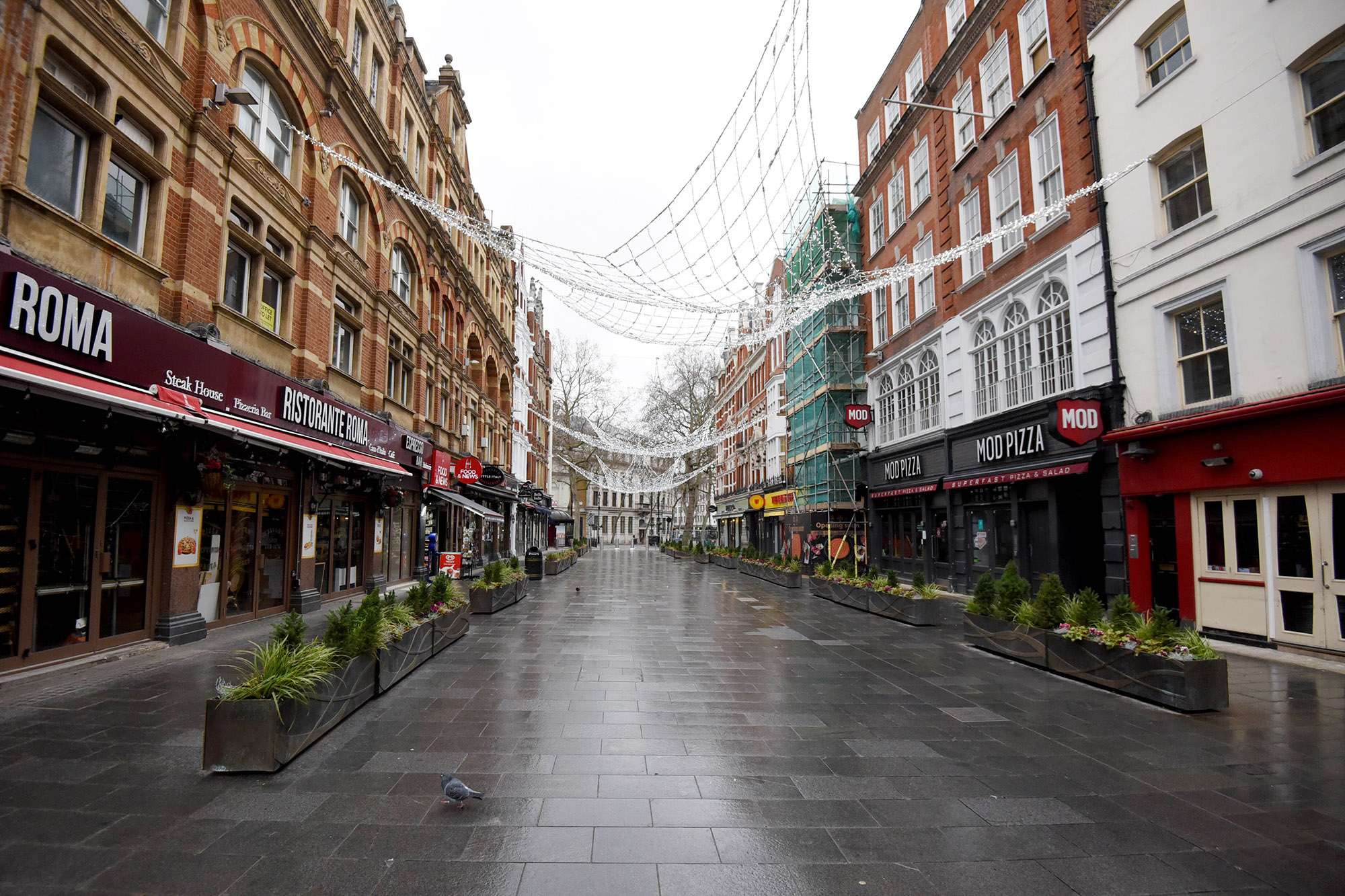 A deserted Leicester Square on January 5, in London, England. British Prime Minister Boris Johnson made a national television address on Monday evening announcing England will enter another coronavirus lockdown.