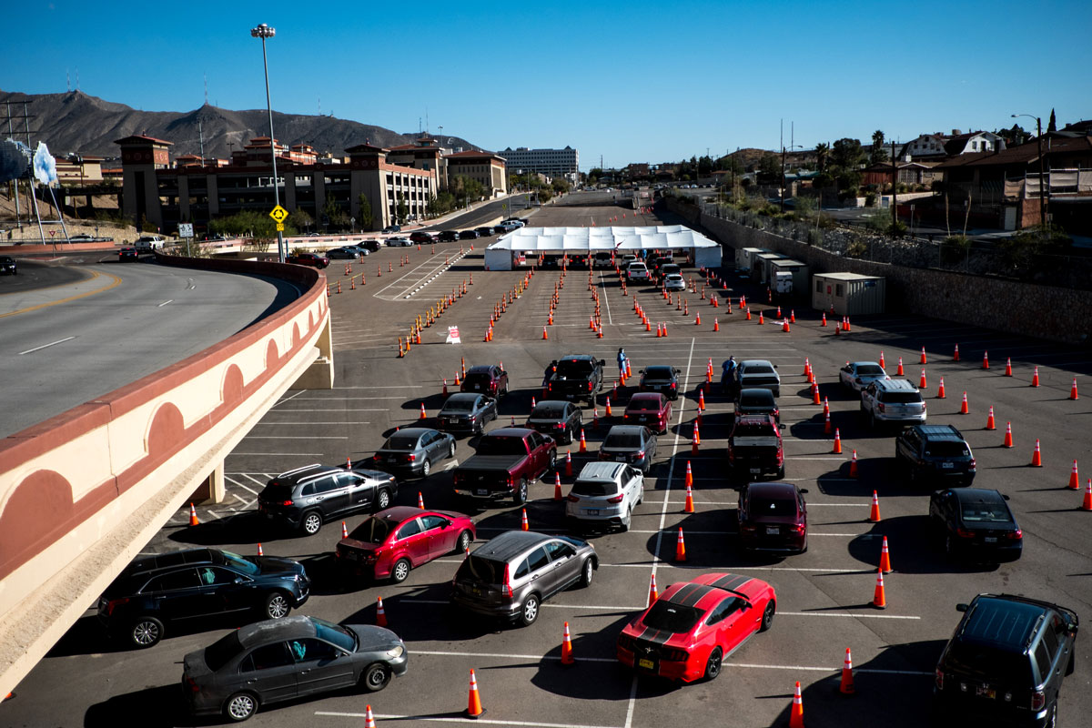 People in vehicles wait in line at a Covid-19 drive-thru testing site in El Paso, Texas on November 9.