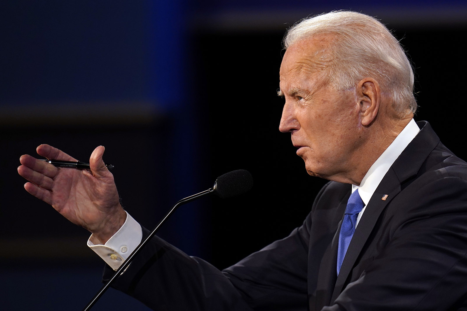 Democratic presidential candidate Joe Biden speaks during the second and final presidential debate on Thursday in Nashville.