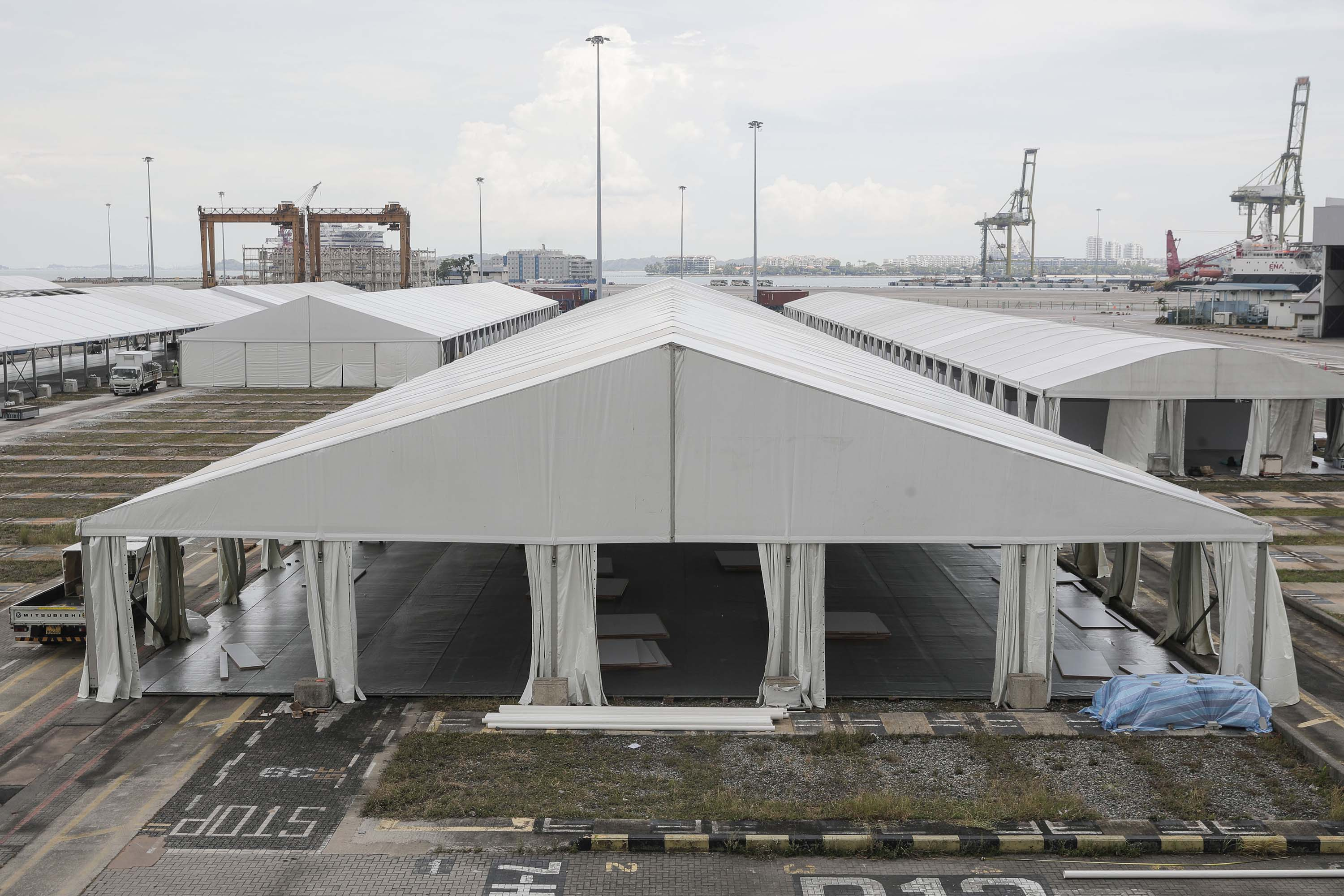 Tents are constructed for use as an isolation facility for COVID-19 patients at the Tanjong Pagar Terminal in Singapore, on April 24.