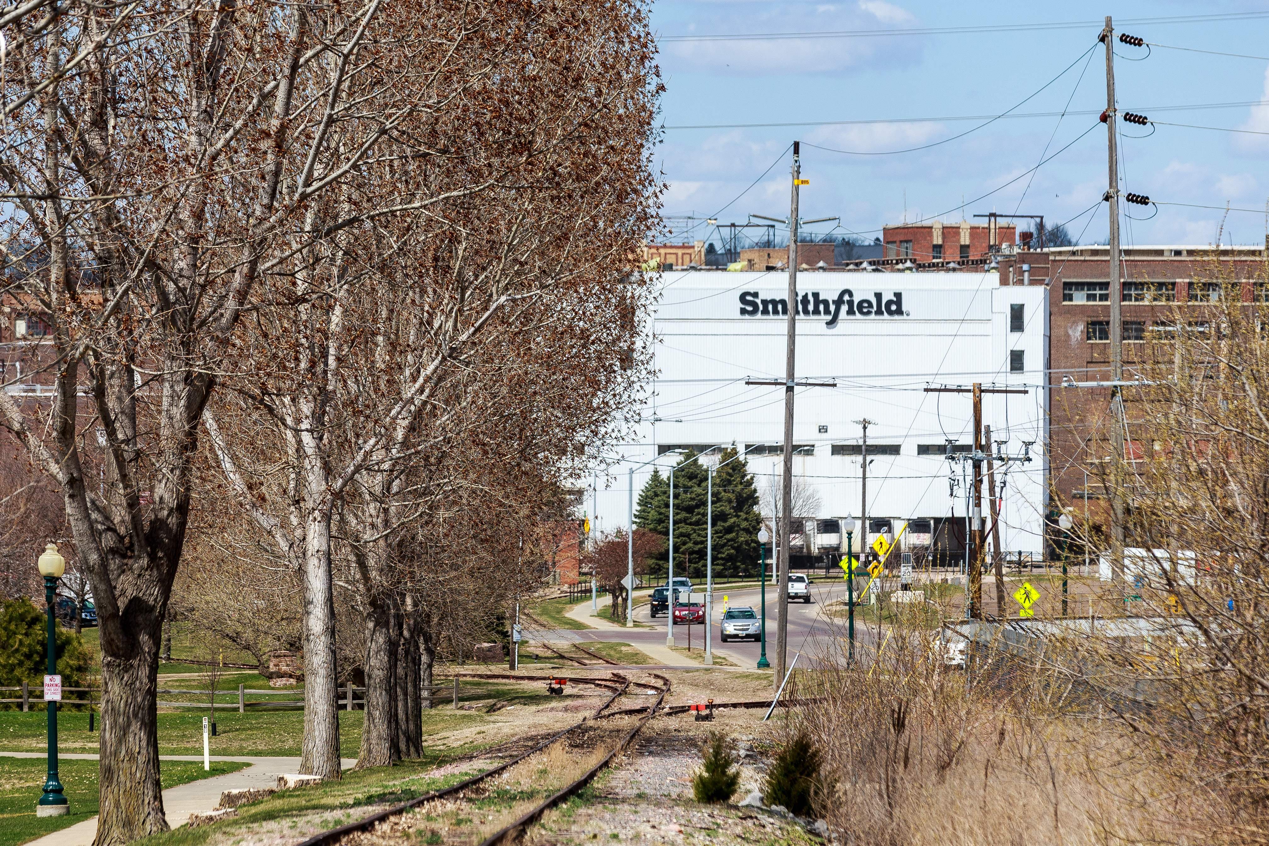 The Smithfield Foods pork plant in Sioux Falls, South Dakota, is seen on April 20.