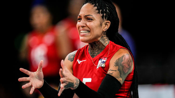 Dominican Republic women's volleyball player Brenda Castillo during a training session on July 22, 2021, in Tokyo, Japan. Castillo has multiple visible tattoos, including on her neck, arms and hand.