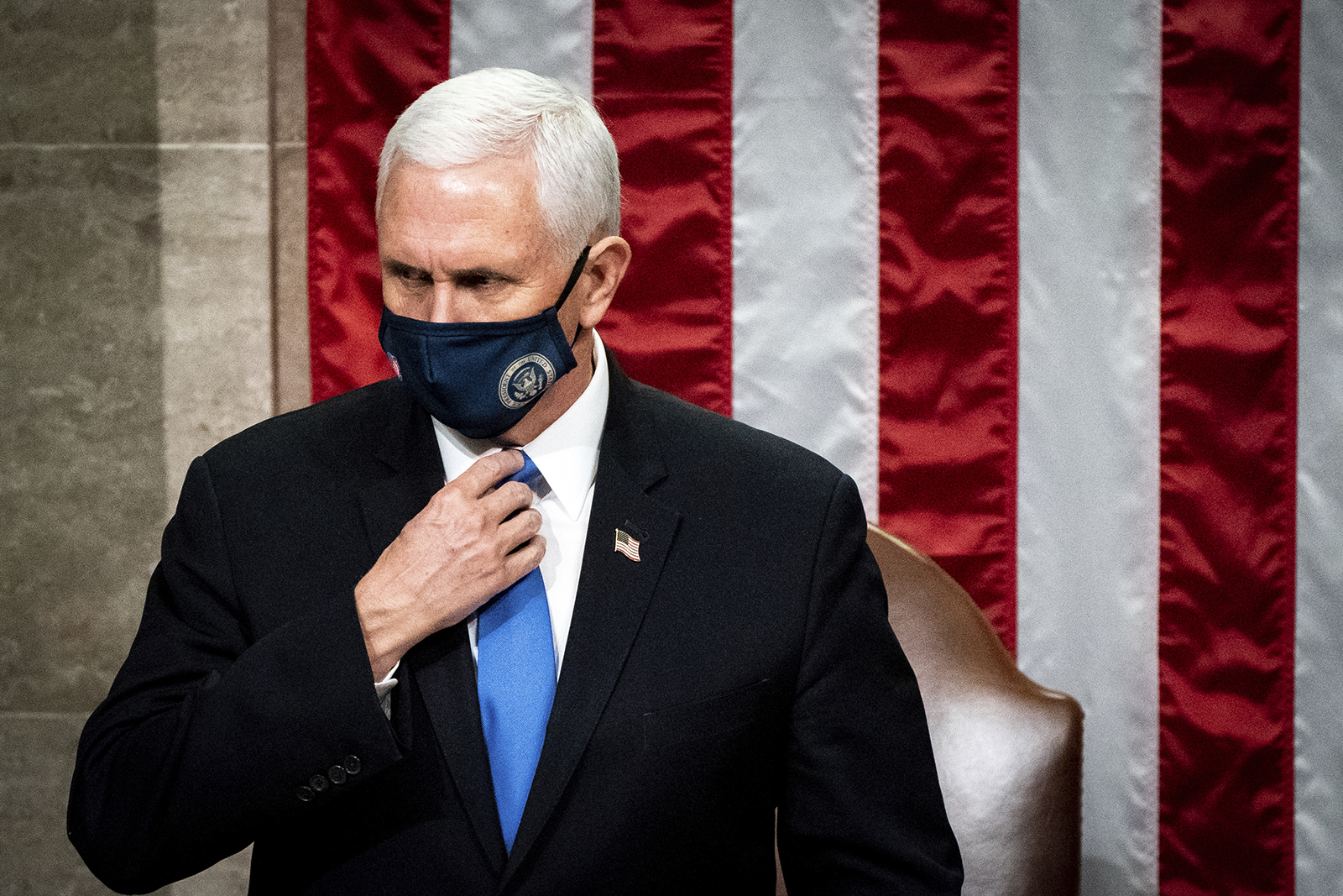 Vice President Mike Pence officiates as a joint session of the House and Senate reconvenes to confirm the Electoral College votes at the Capitol on Wednesday, January 6.