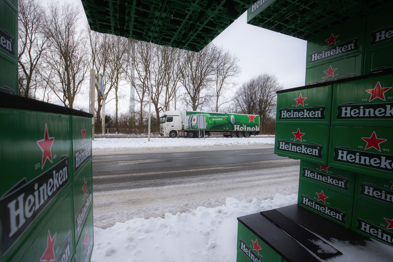 A truck drives near the Heineken brewery in Zoeterwoude, Netherlands, on February 9.
