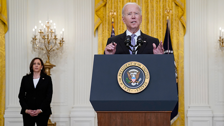 President Joe Biden speaks about distribution of COVID-19 vaccines, in the East Room of the White House, Monday, May 17.