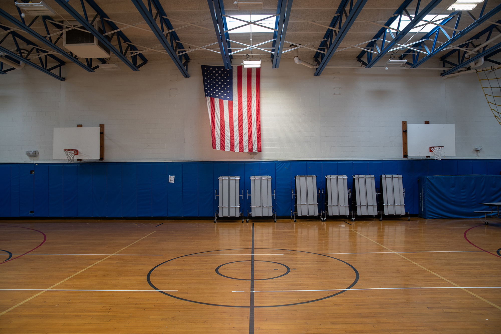 A gymnasium sits empty at the KT Murphy Elementary School on March 17, 2020 in Stamford, Connecticut. Stamford Public Schools closed the week before to help slow the spread of the COVID-19.