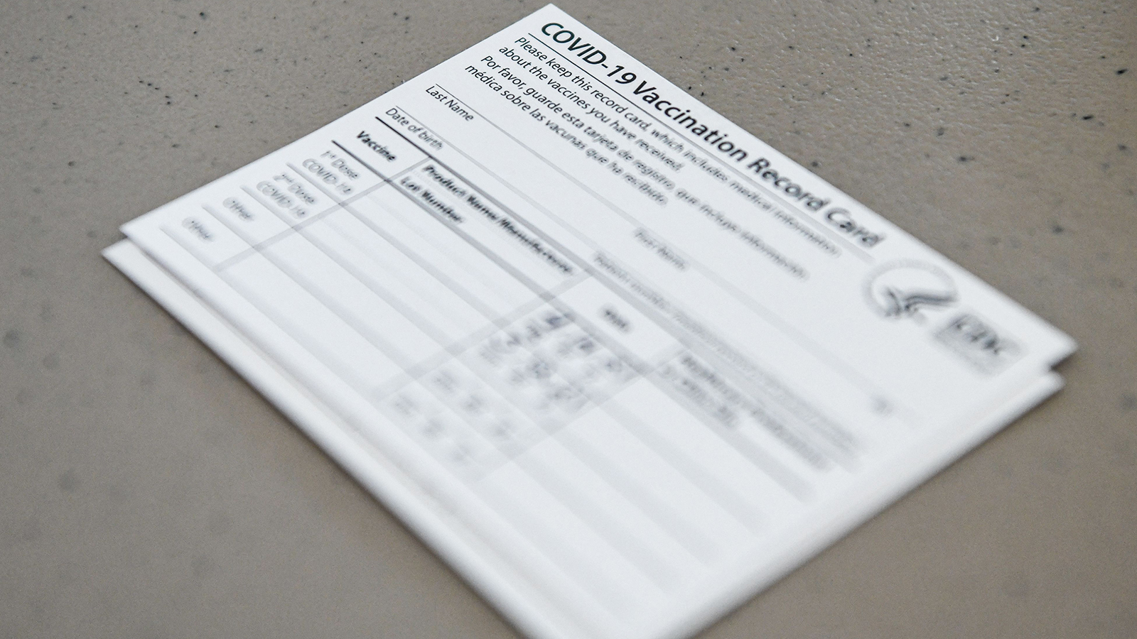 A Covid-19 vaccine record card is seen at Florida Memorial University Vaccination Site in Miami Gardens, Florida on April 14.