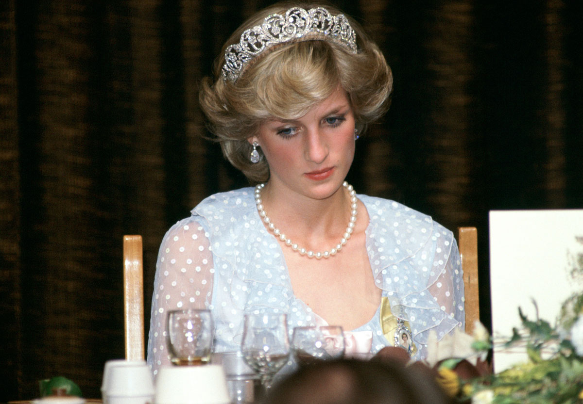 Princess Diana at a banquet in New Zealand on April 20, 1983.