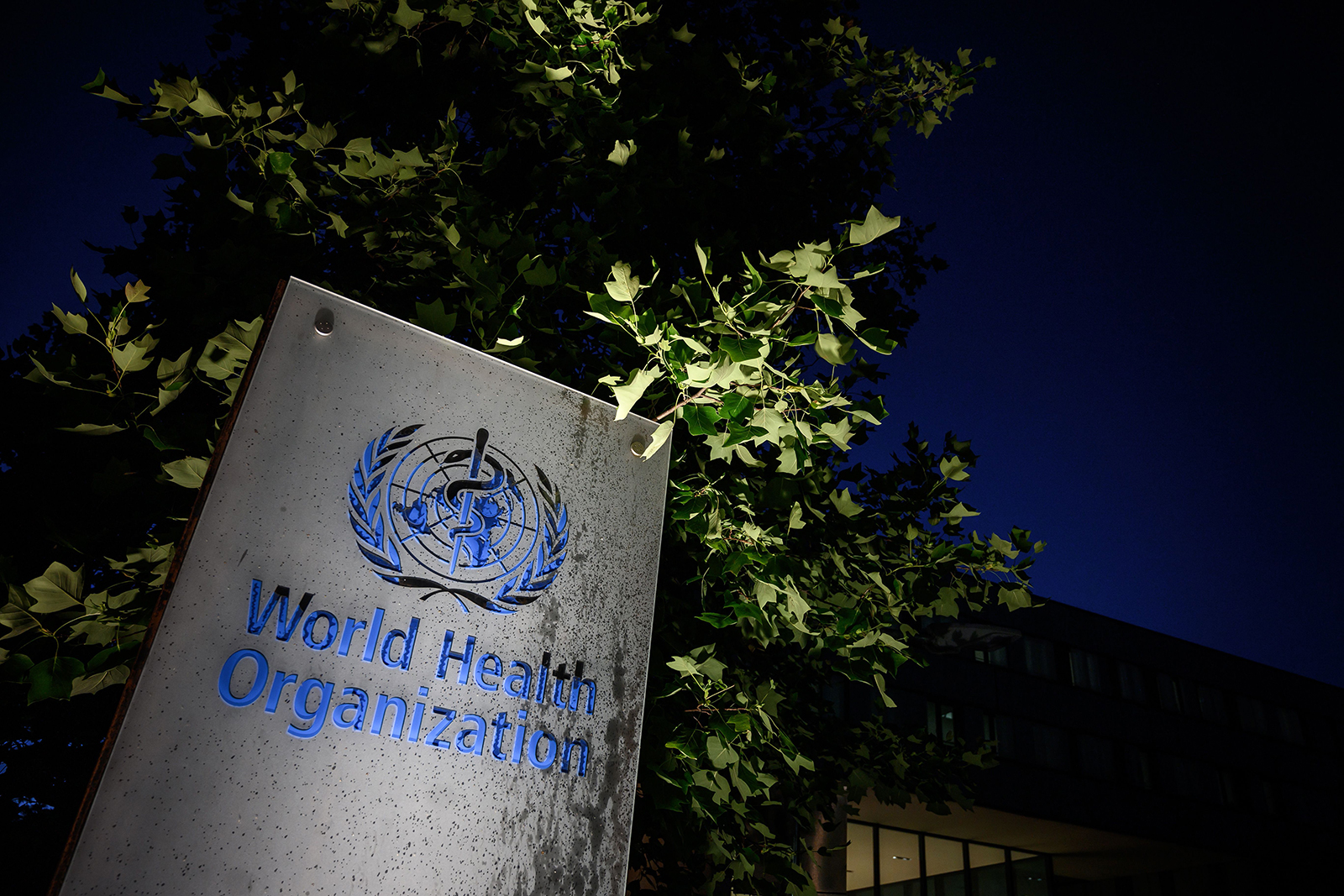 The World Health Organization headquarters sign seen here in Geneva, Switzerland, on May 29.