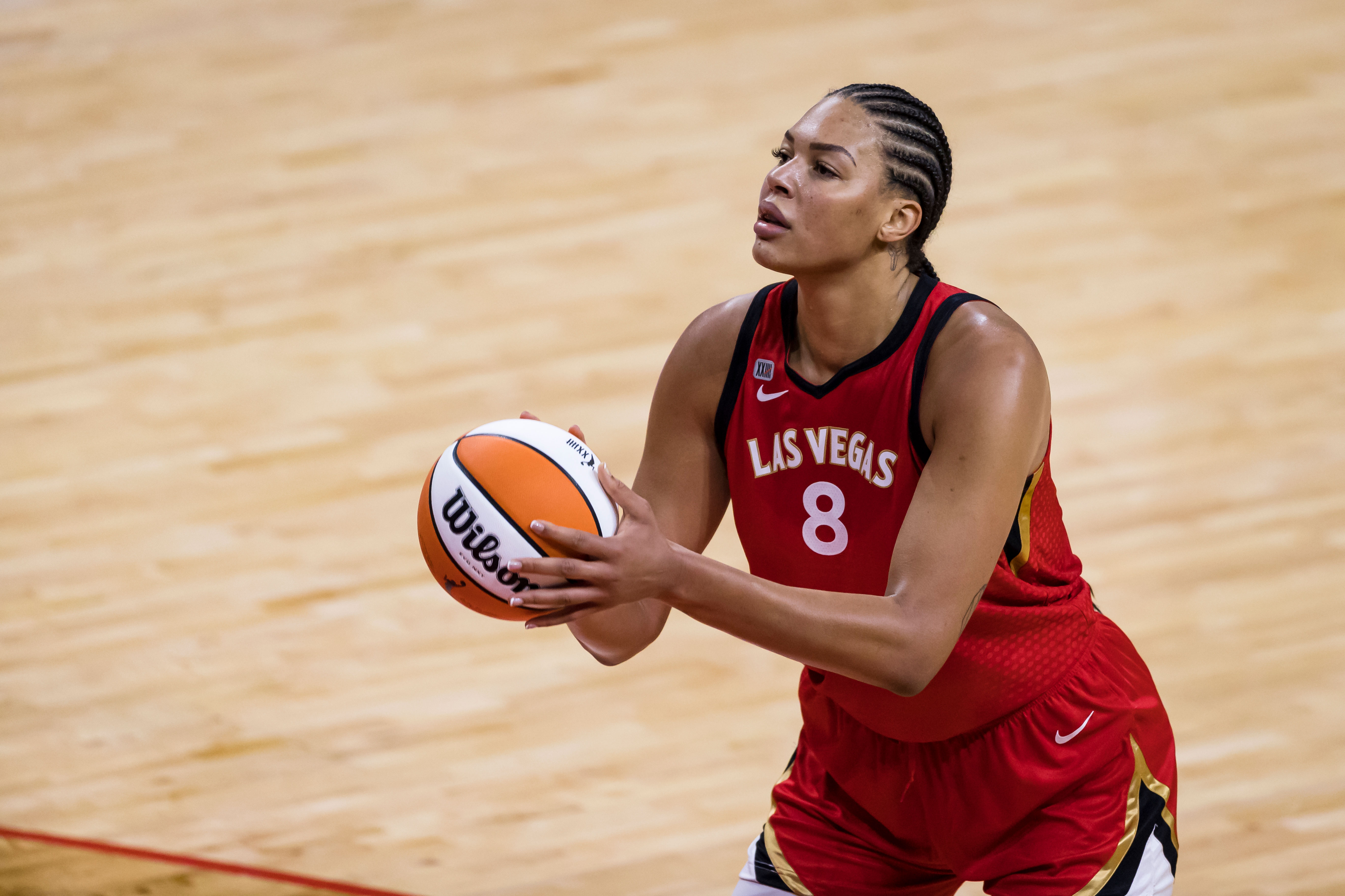 Liz Cambage of the WNBA's Las Vegas Aces shoots the ball against the Washington Mystics during a game in Washington, DC, on June 5, 2021.