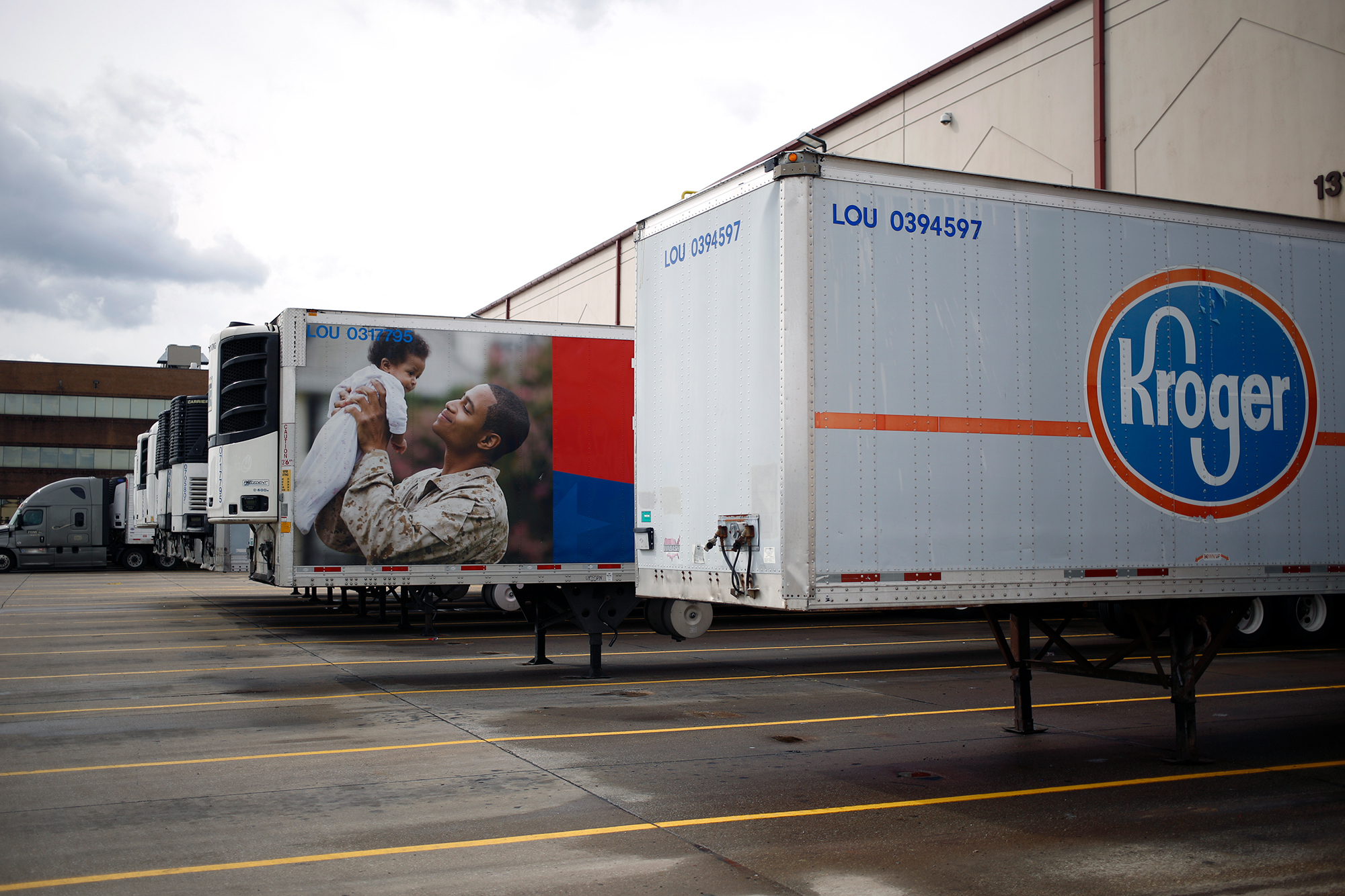 Semi-trailers sit parked at a Kroger Co. grocery distribution center in Louisville, Kentucky, on Friday, March 20.