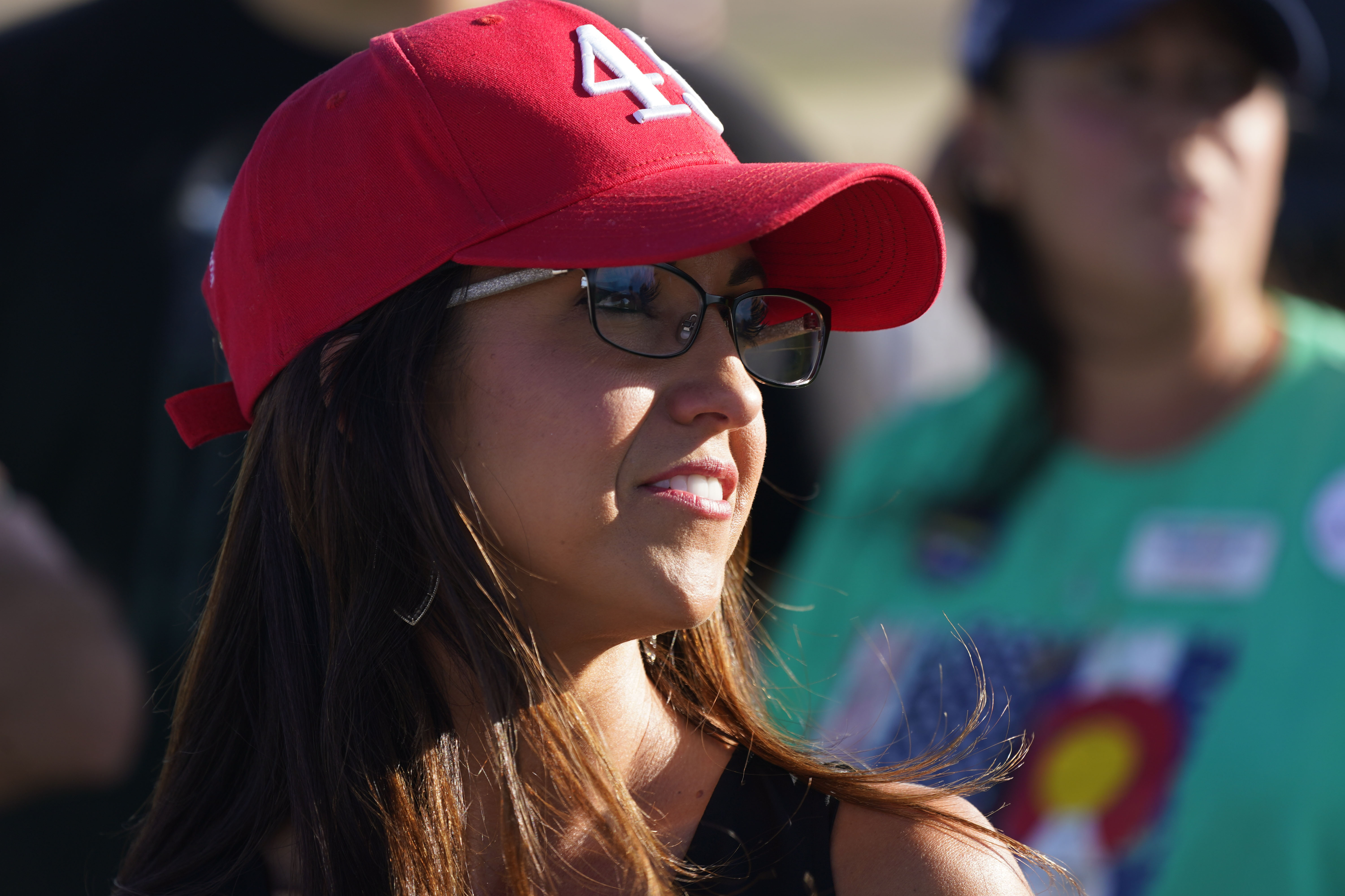 Lauren Boebert, the Republican candidate for the U.S. House of Representatives seat in Colorado's vast 3rd Congressional District, during a freedom cruise staged by her supporters on Friday, September 4, in Pueblo West, Colorado.