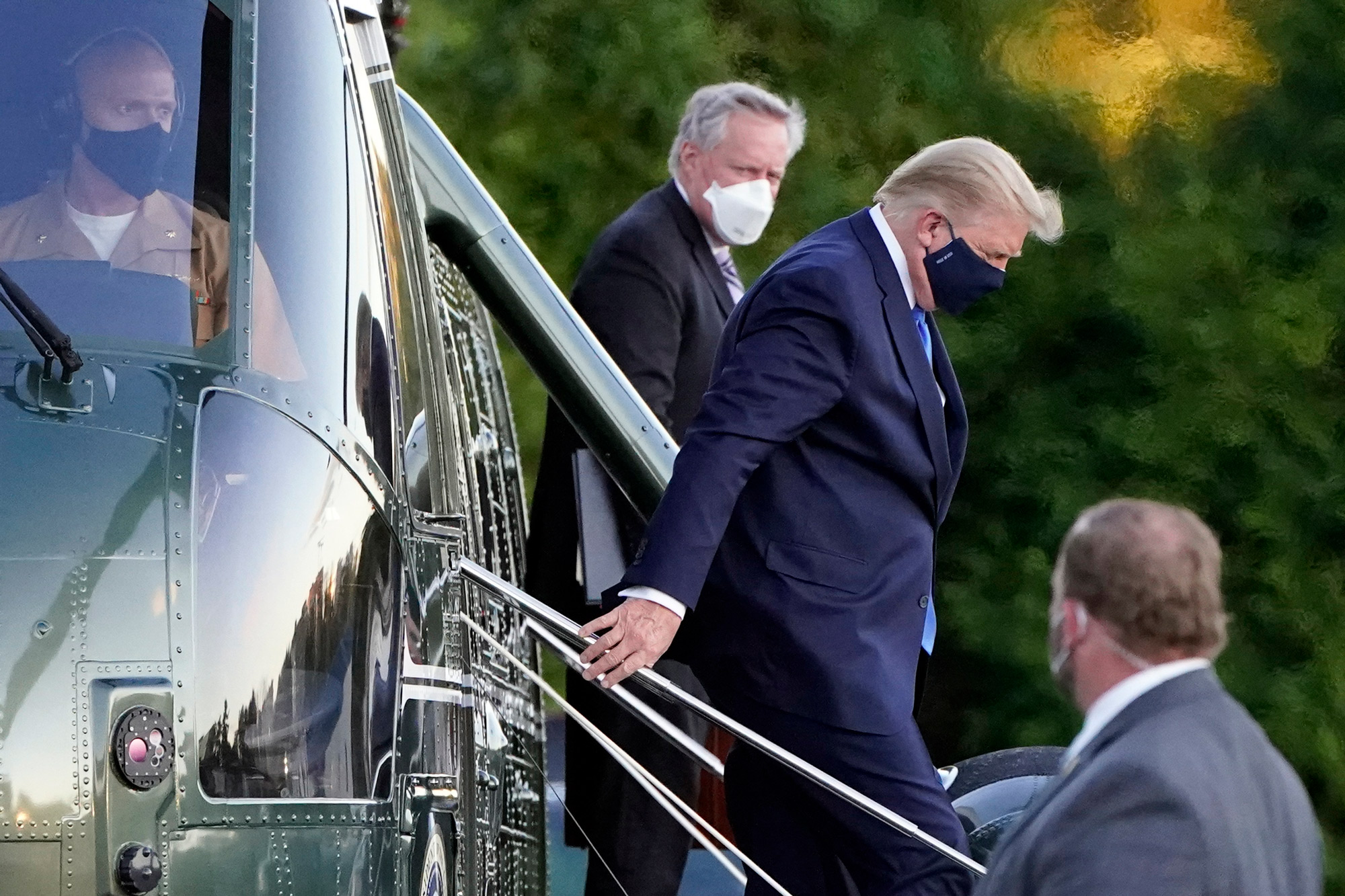 President Donald Trump arrives at Walter Reed National Military Medical Center, in Bethesda, Maryland, on October 2 on Marine One helicopter after he tested positive for COVID-19.