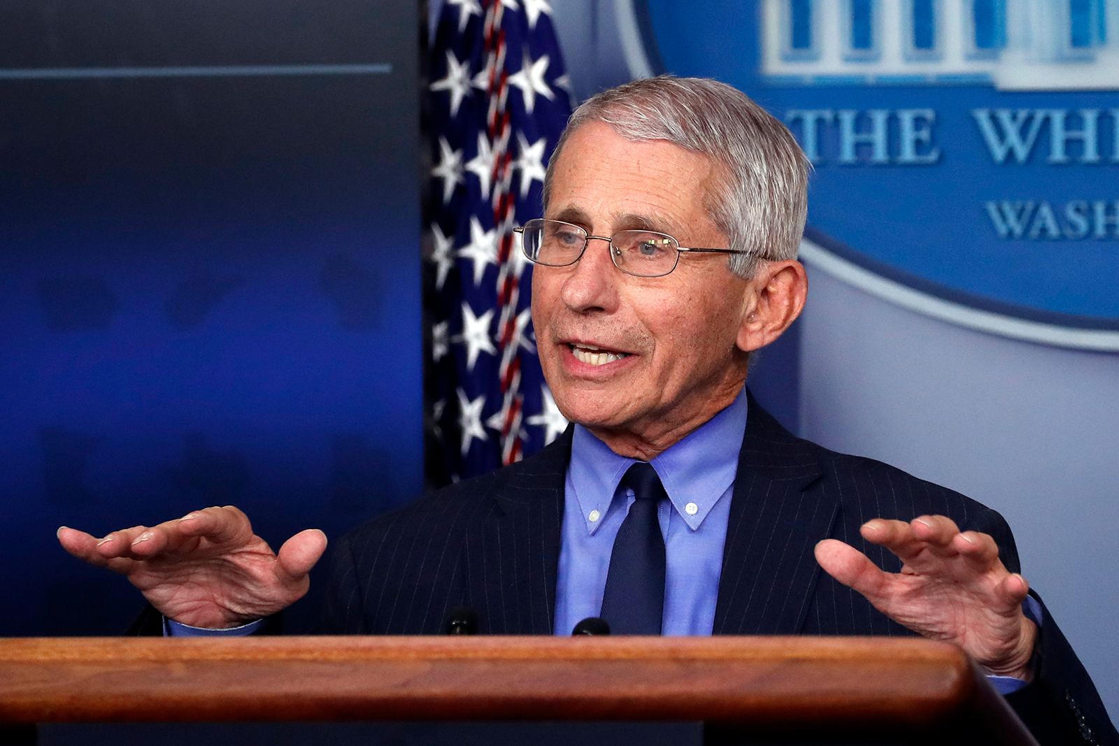 Dr. Anthony Fauci, director of the National Institute of Allergy and Infectious Diseases, speaks about the coronavirus at the White House, on April 17.