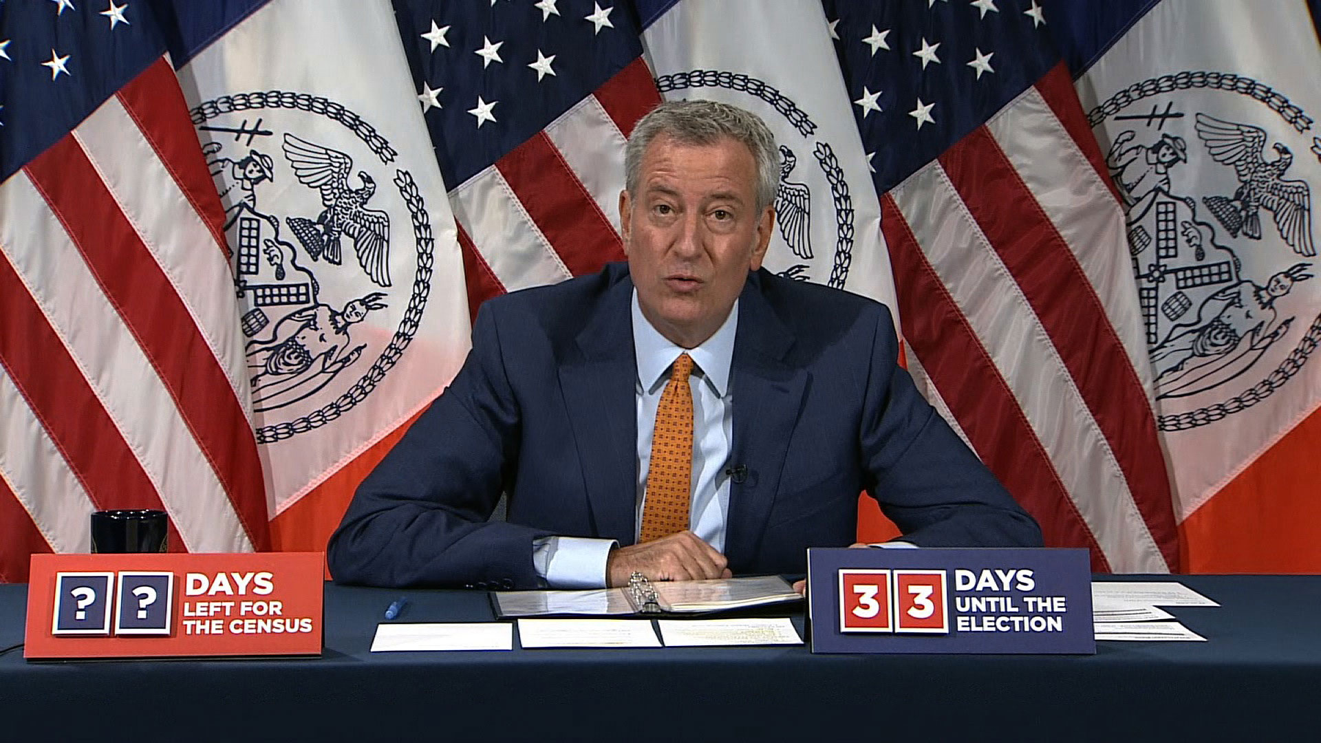 New York City Mayor Bill de Blasio speaks at a briefing on October 1.