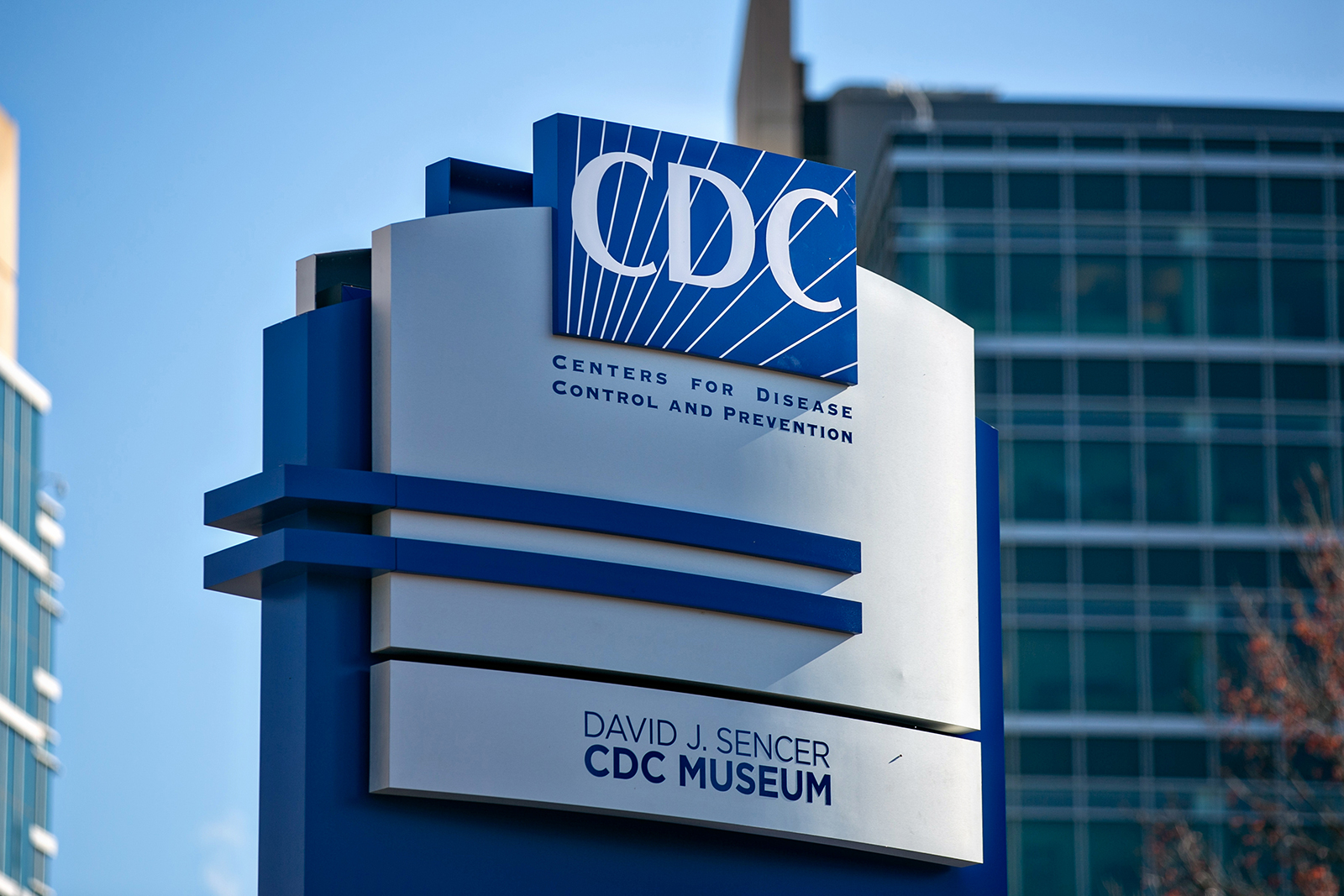 A sign for the Centers for Disease Control and Prevention is seen in Atlanta, on December 10.