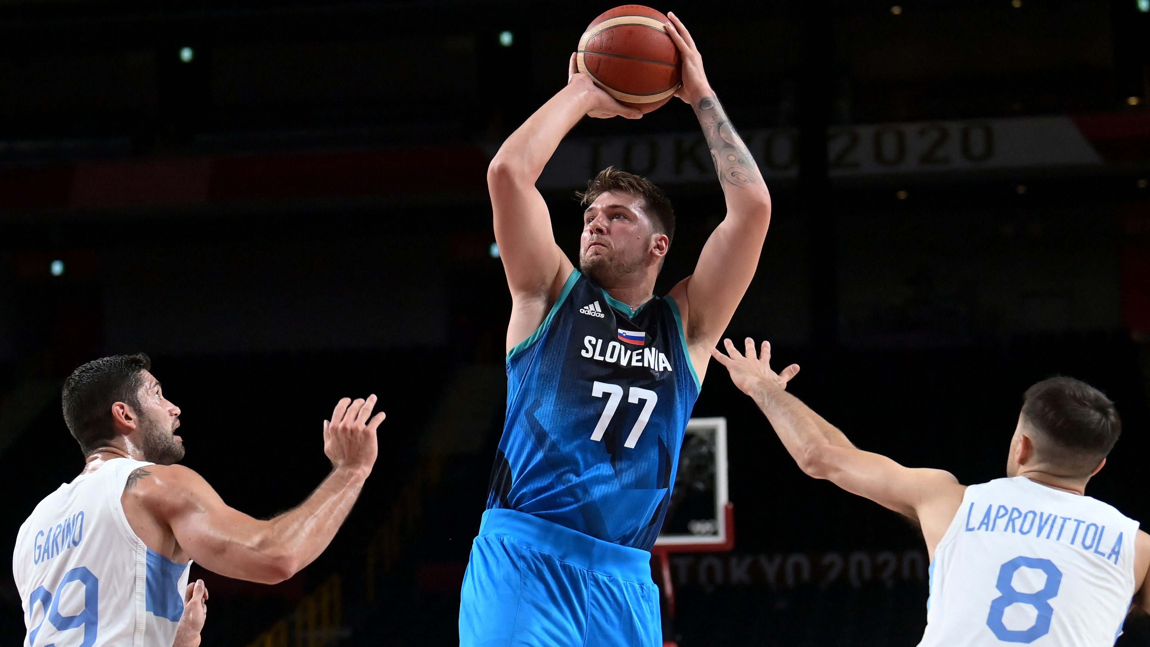 Slovenia's Luka Doncic takes a shot in the preliminary round group C basketball match between Argentina and Slovenia on July 26.