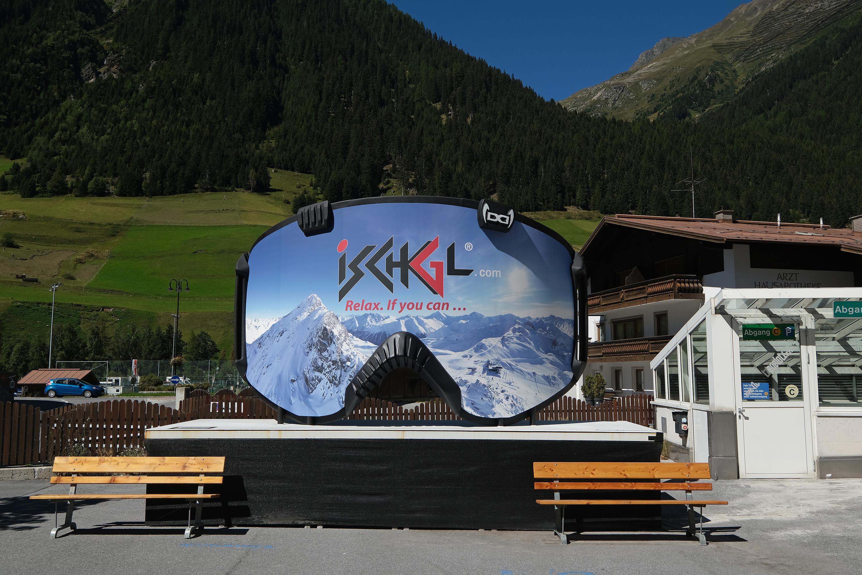 A ski resort advertisement in Ischgl, Austria, on September 9.