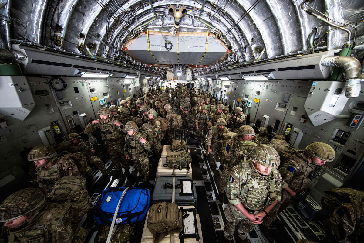 British Forces from 16 Air Assault Brigade arrive in Kabul, Afghanistan in this photo provided by the Ministry Of Defense on August 15.