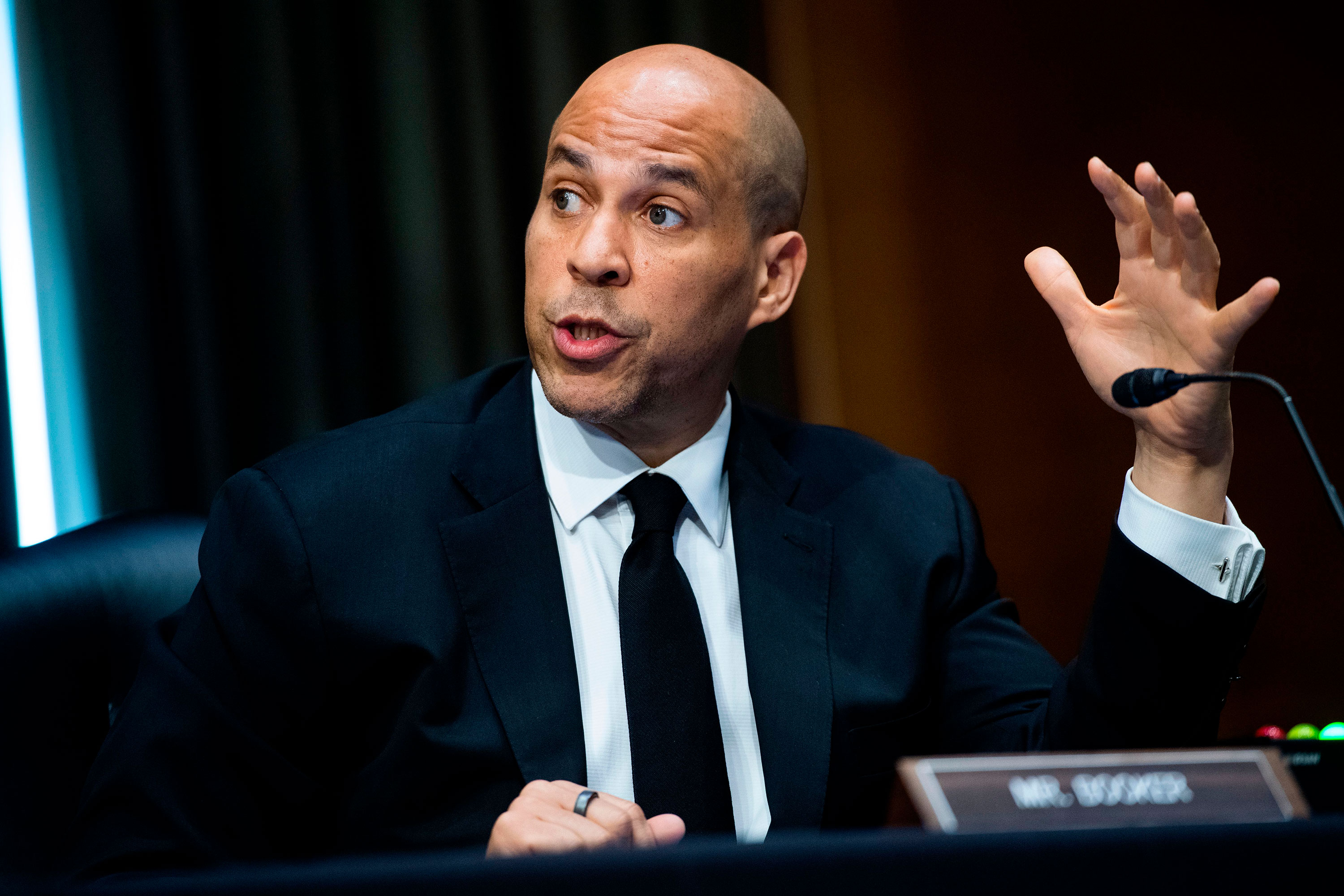 Sen. Cory Booker, D-NJ, speaks during a hearing on June 2 in Washington.